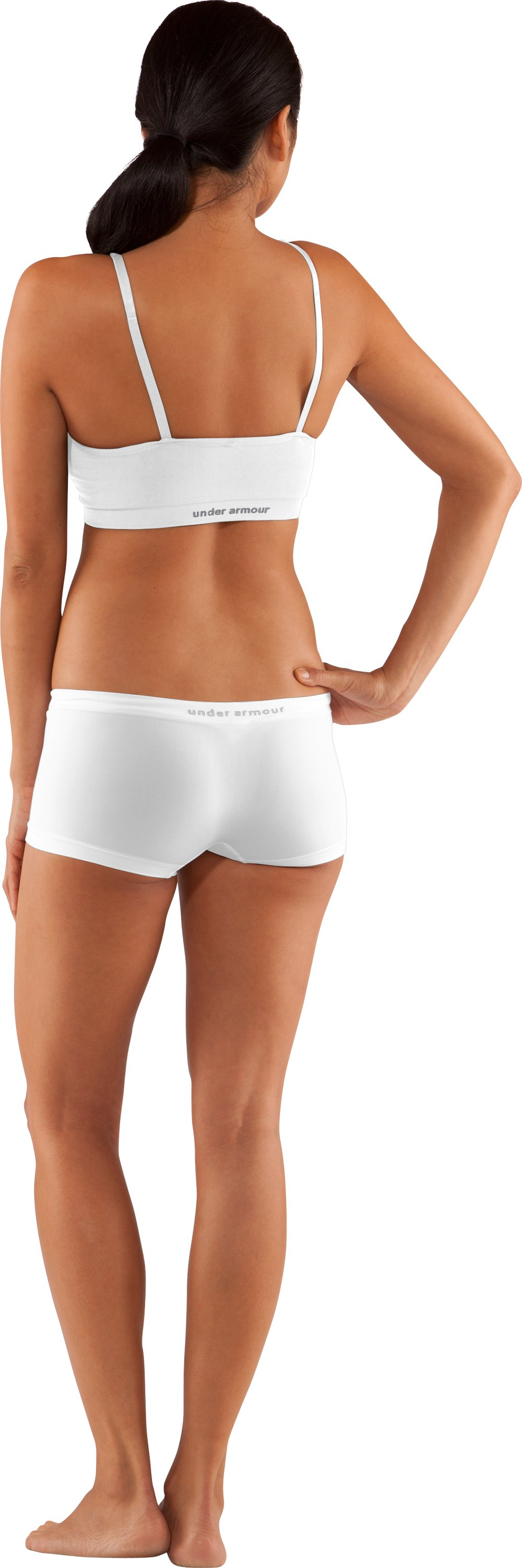 Women's UA Active Boy Shorts Underwear, White, Back