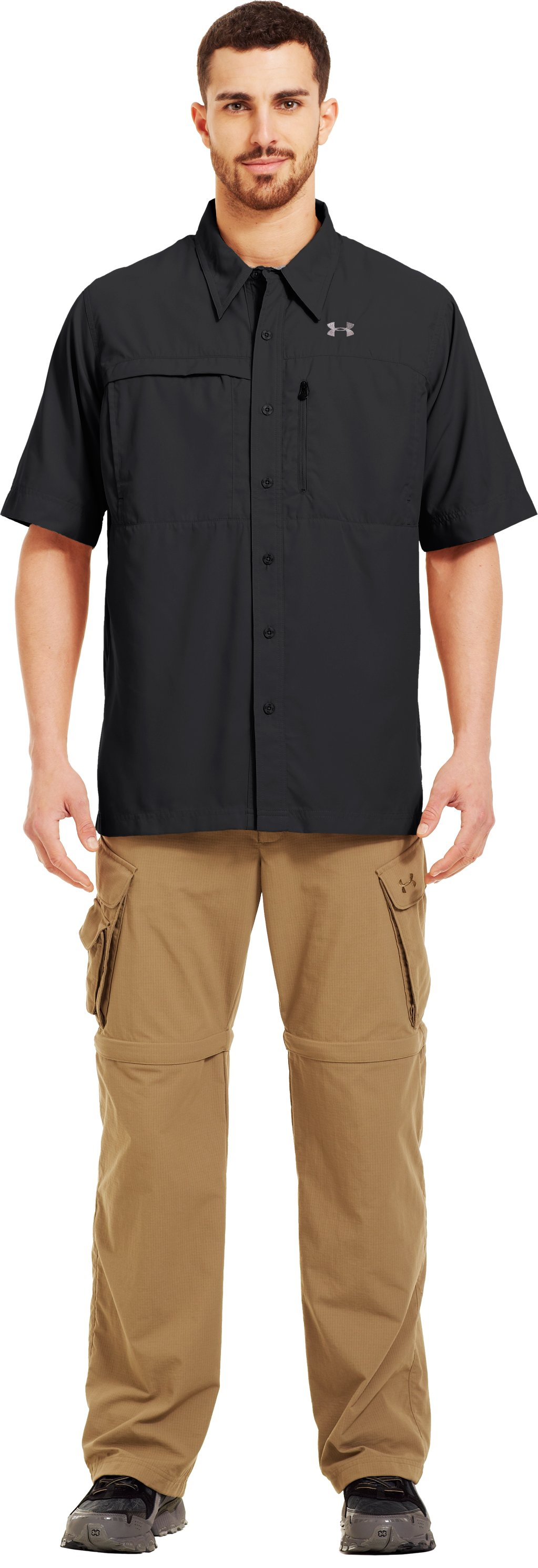 Men's Flats Guide Short Sleeve Shirt, Black , Front