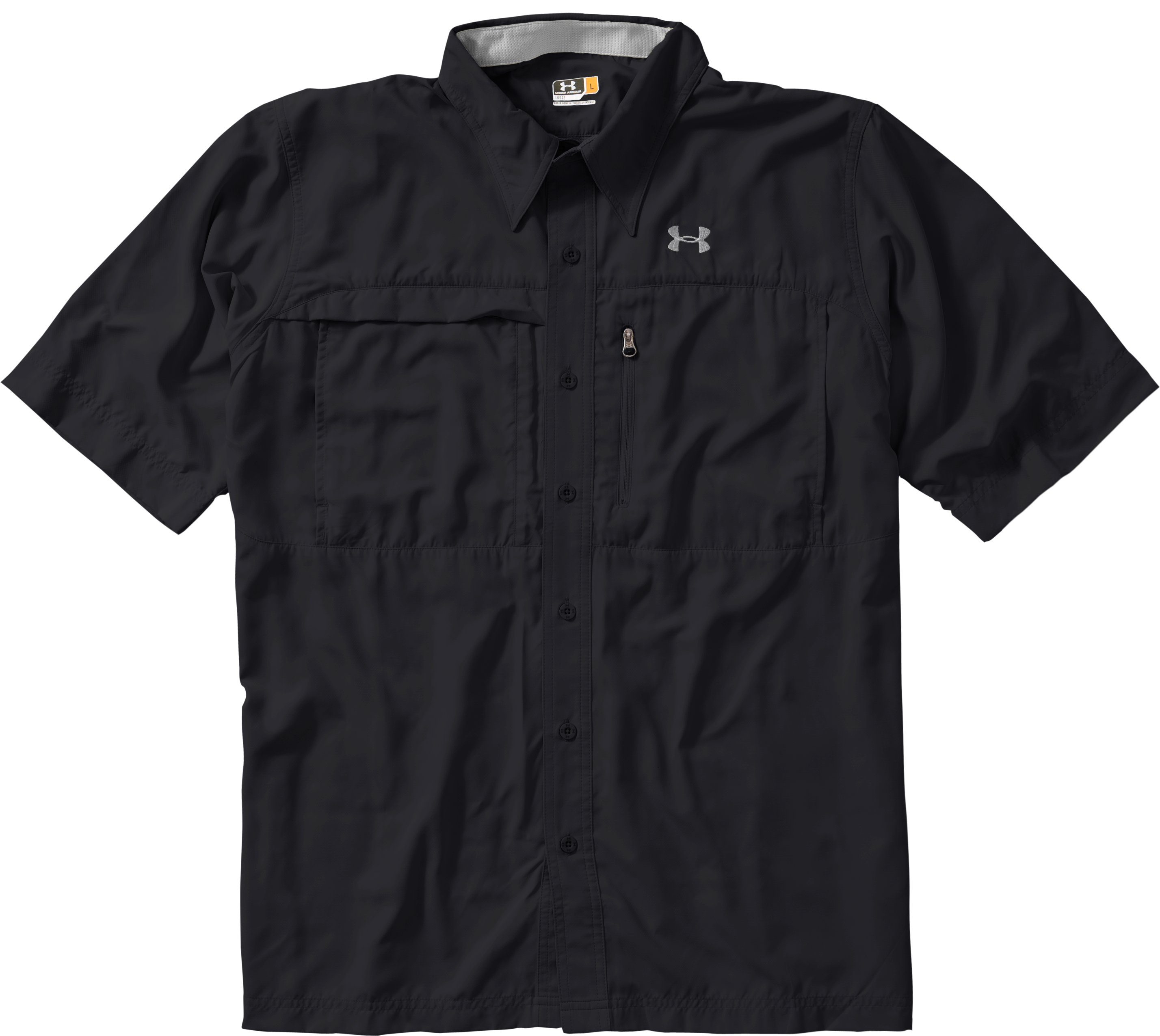 Men's Flats Guide Short Sleeve Shirt, Black , Laydown