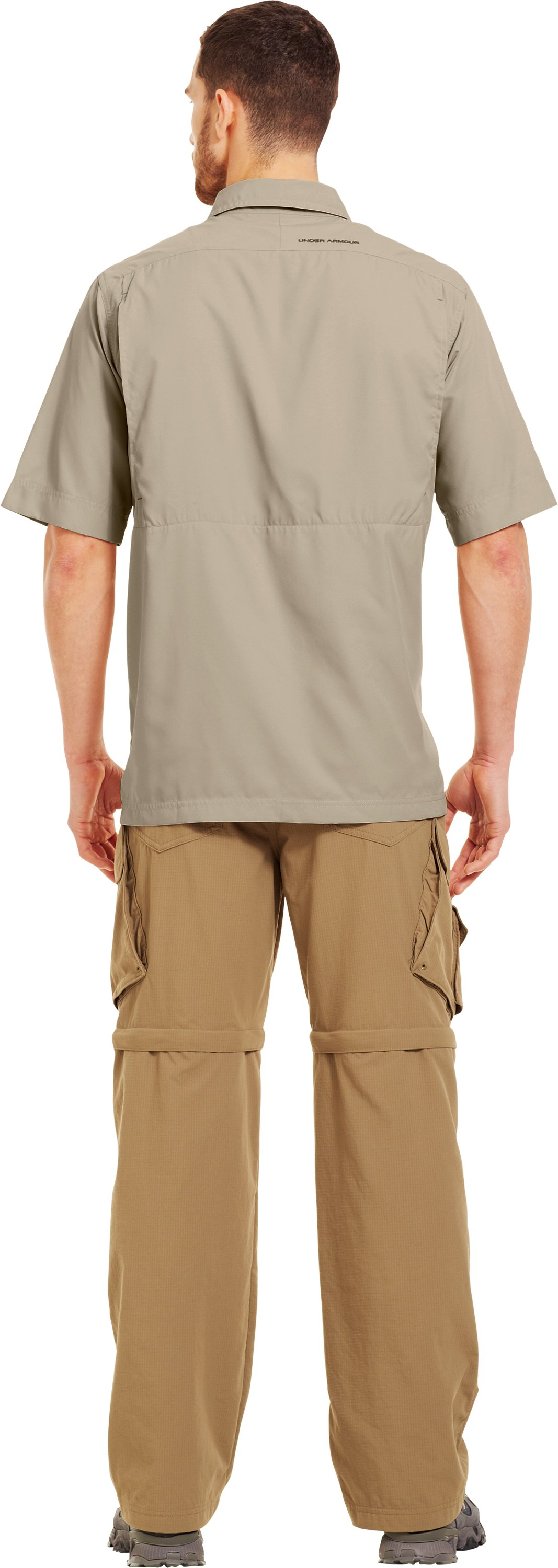 Men's Flats Guide Short Sleeve Shirt, Desert Sand, Back