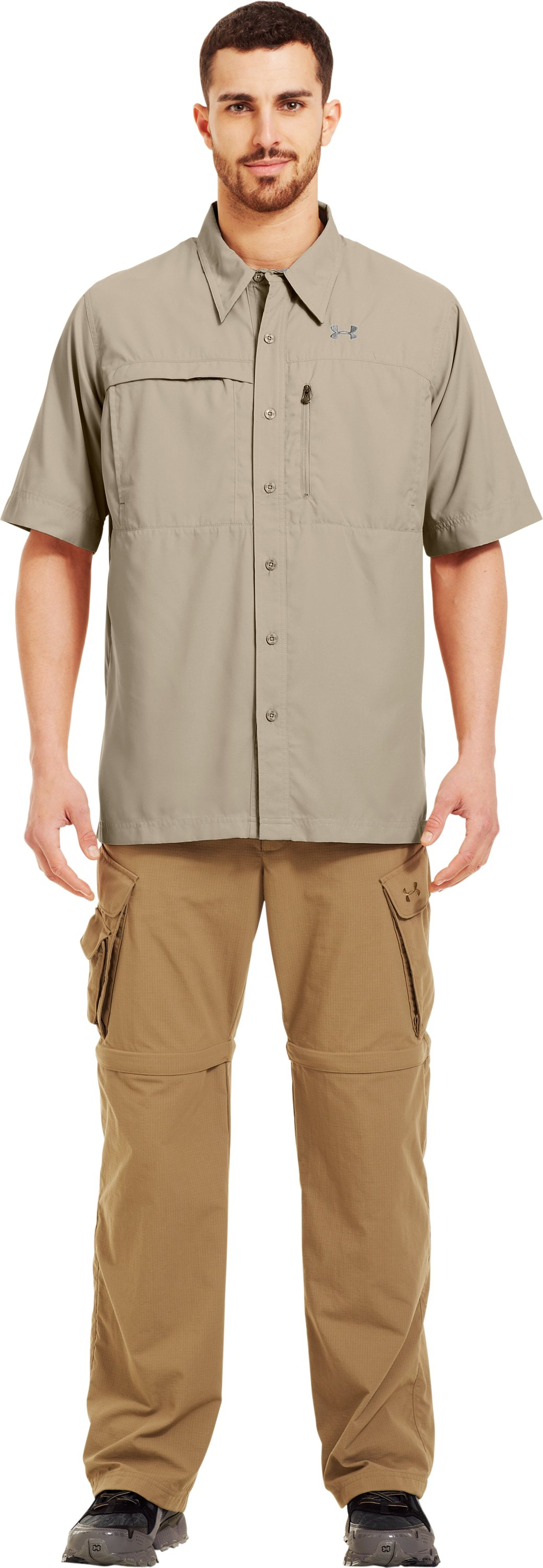 Men's Flats Guide Short Sleeve Shirt, Desert Sand, Front