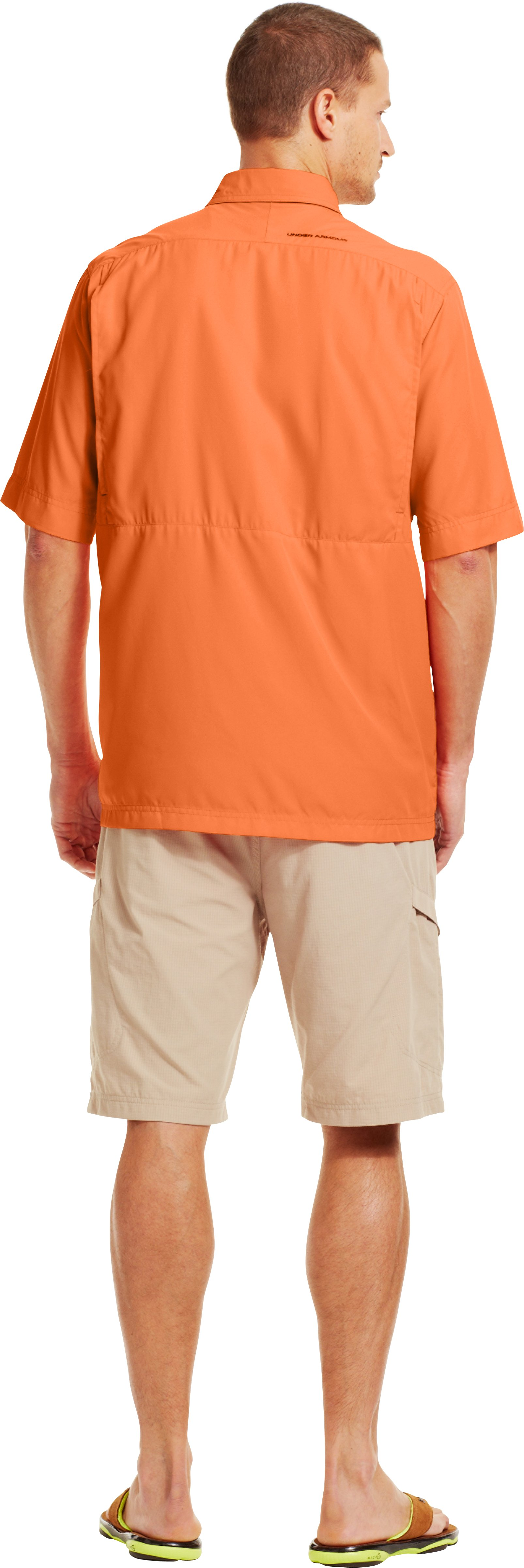Men's Flats Guide Short Sleeve Shirt, Mandarin, Back