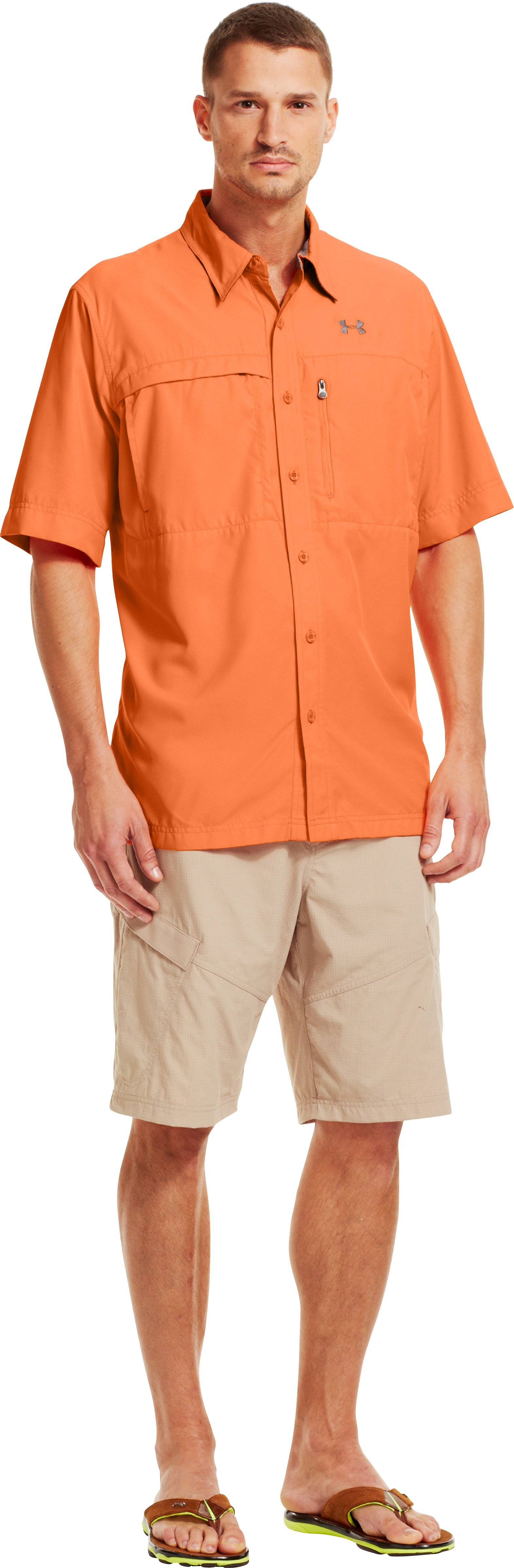 Men's Flats Guide Short Sleeve Shirt, Mandarin, Front