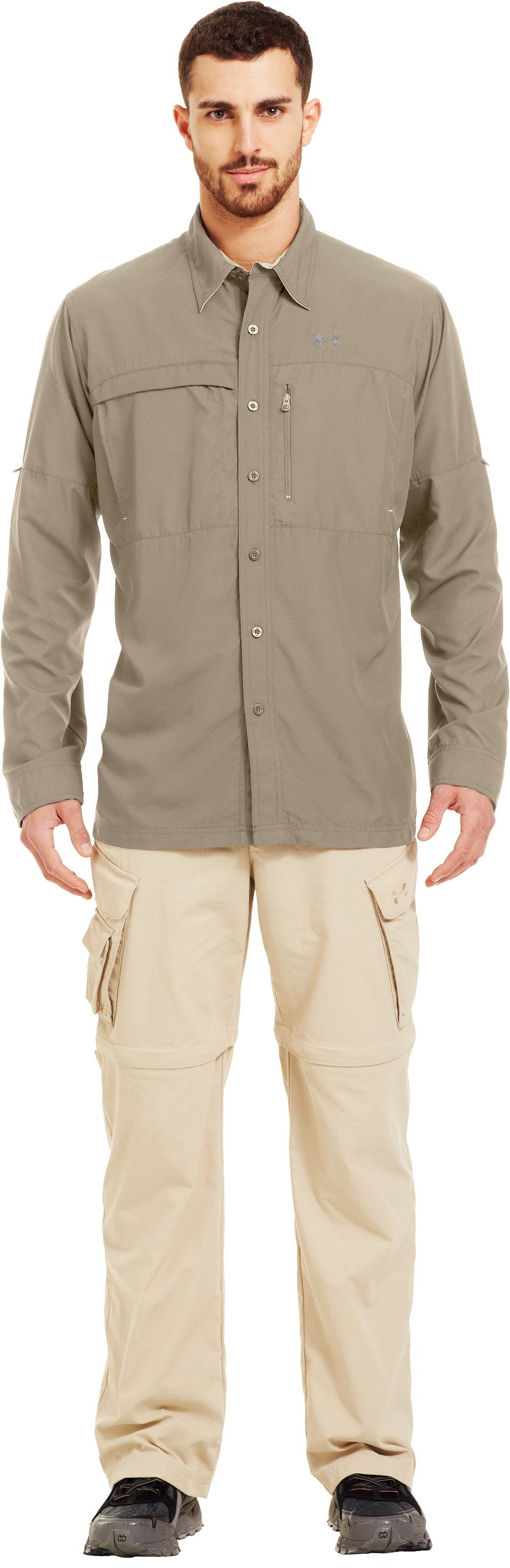 Men's Flats Guide Long Sleeve Shirt, Desert Sand, Front