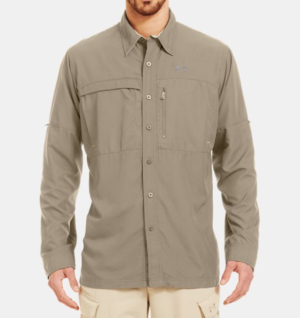 Men s flats guide long sleeve shirt under armour us for Under armor fishing shirt