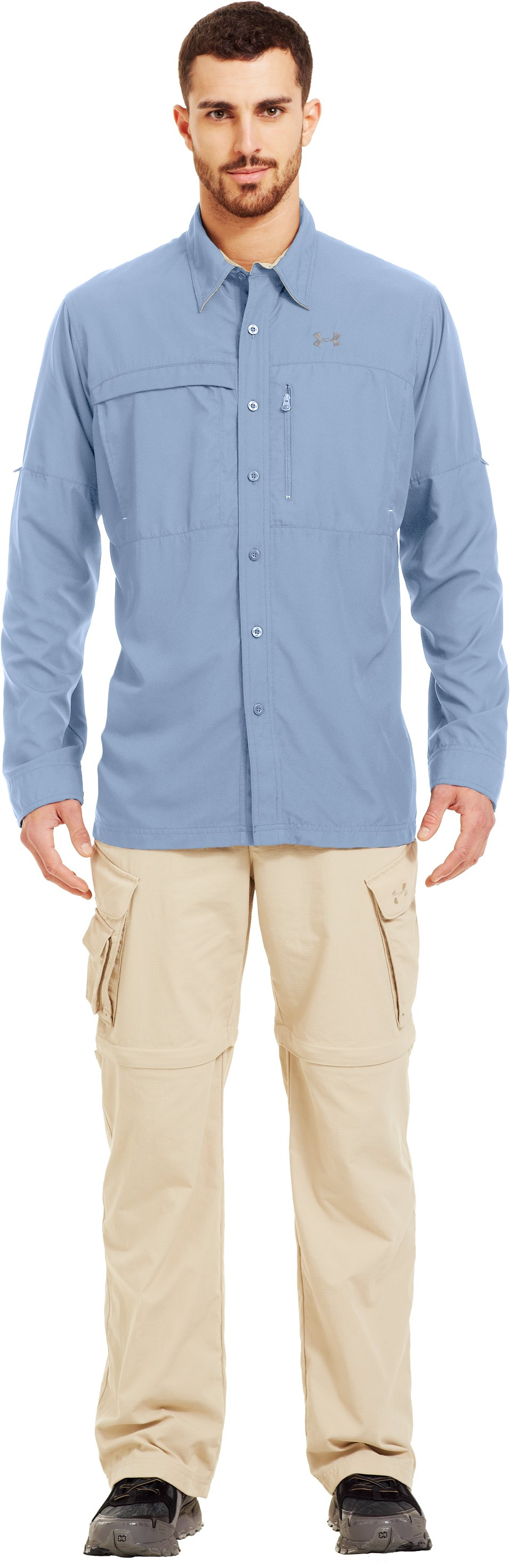 Men's Flats Guide Long Sleeve Shirt, Cirrus Blue , Front