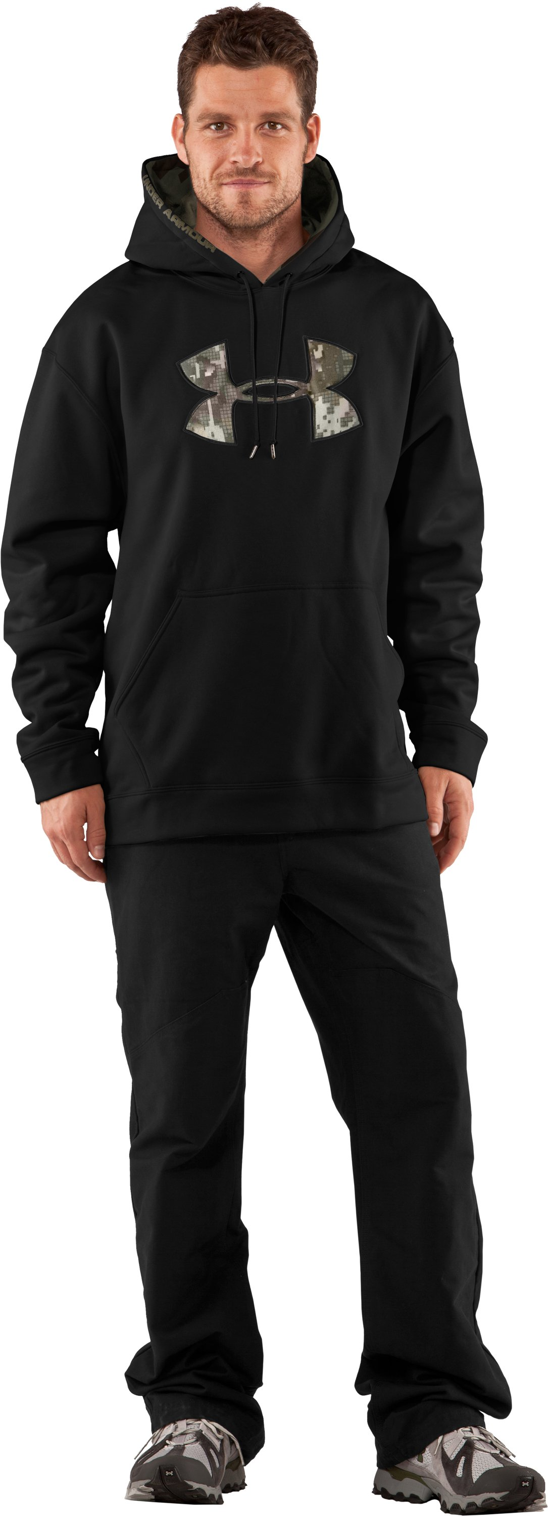Men's UA Storm Armour® Fleece Tackle Twill Hoodie, Black , Front