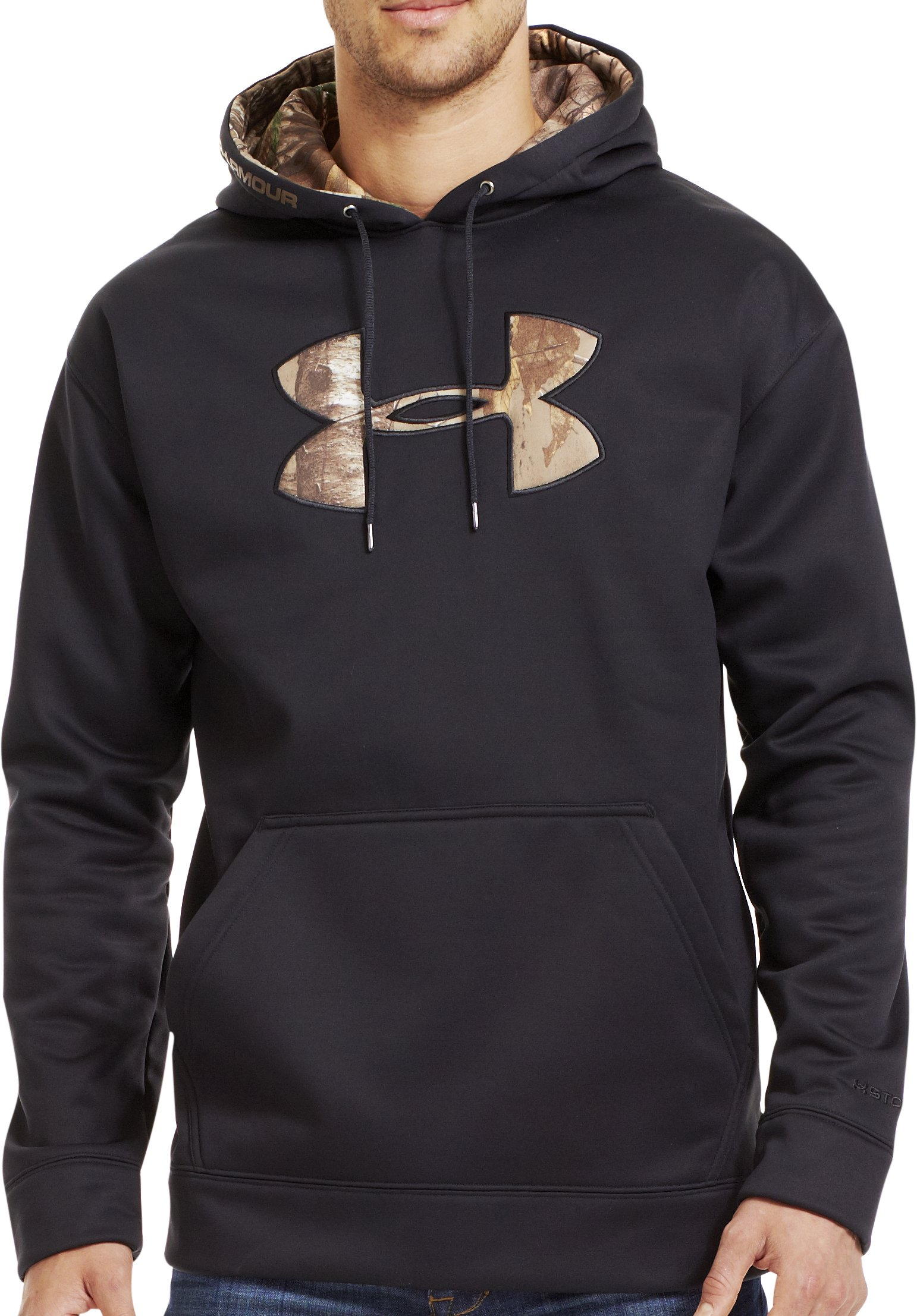 Men's UA Storm Armour® Fleece Tackle Twill Hoodie, Black , zoomed image