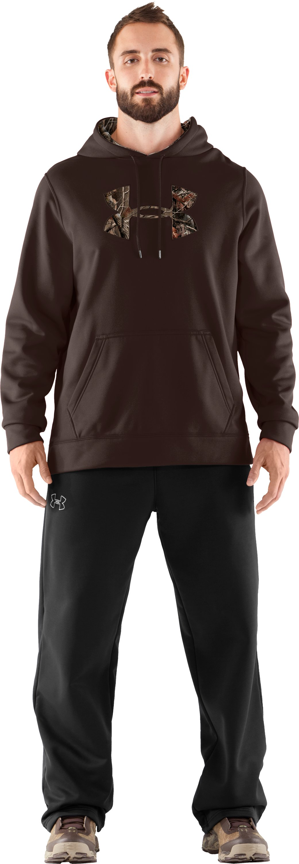 Men's UA Storm Armour® Fleece Tackle Twill Hoodie, Timber, Front