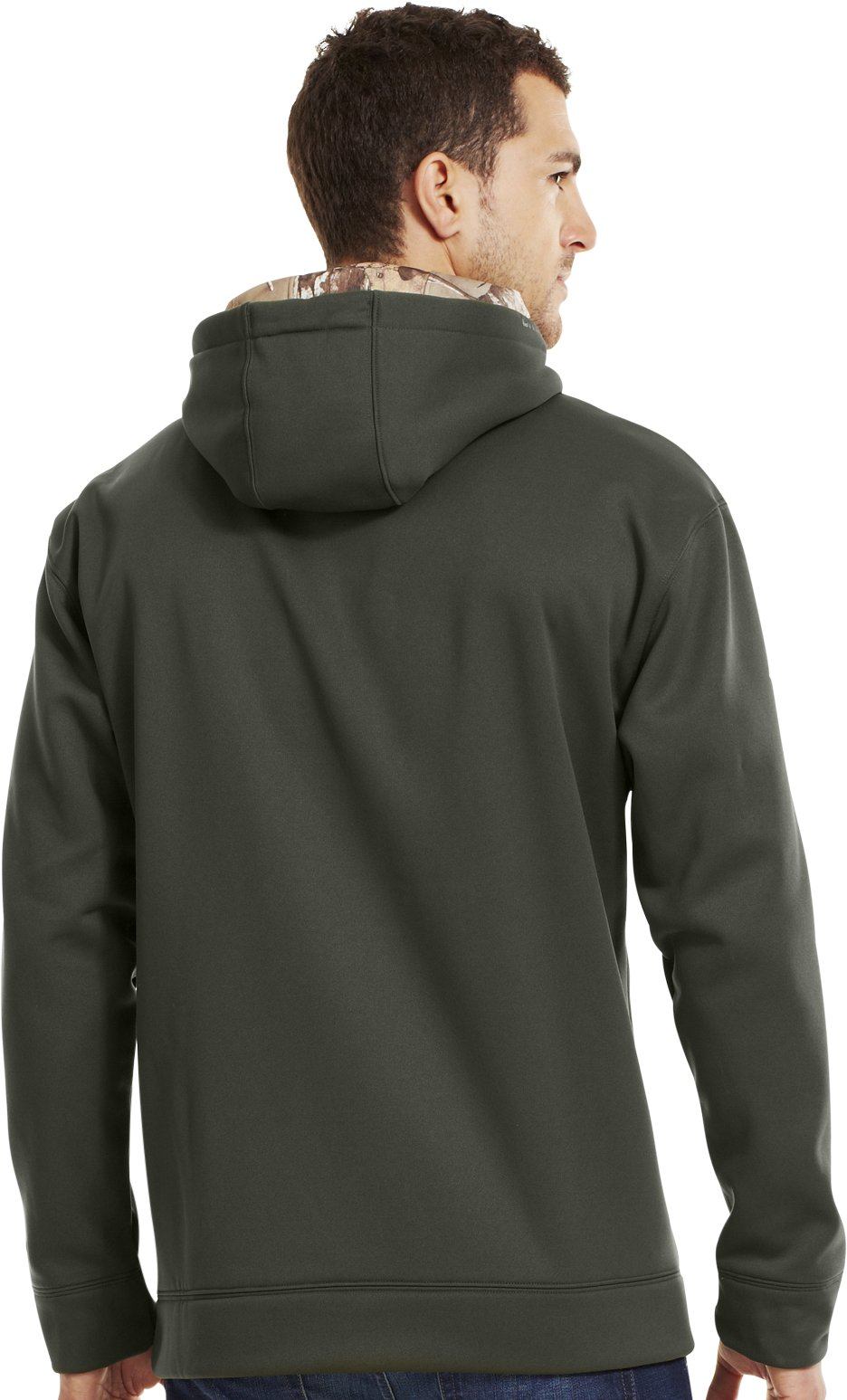 Men's UA Storm Armour® Fleece Tackle Twill Hoodie, Rifle Green, Back