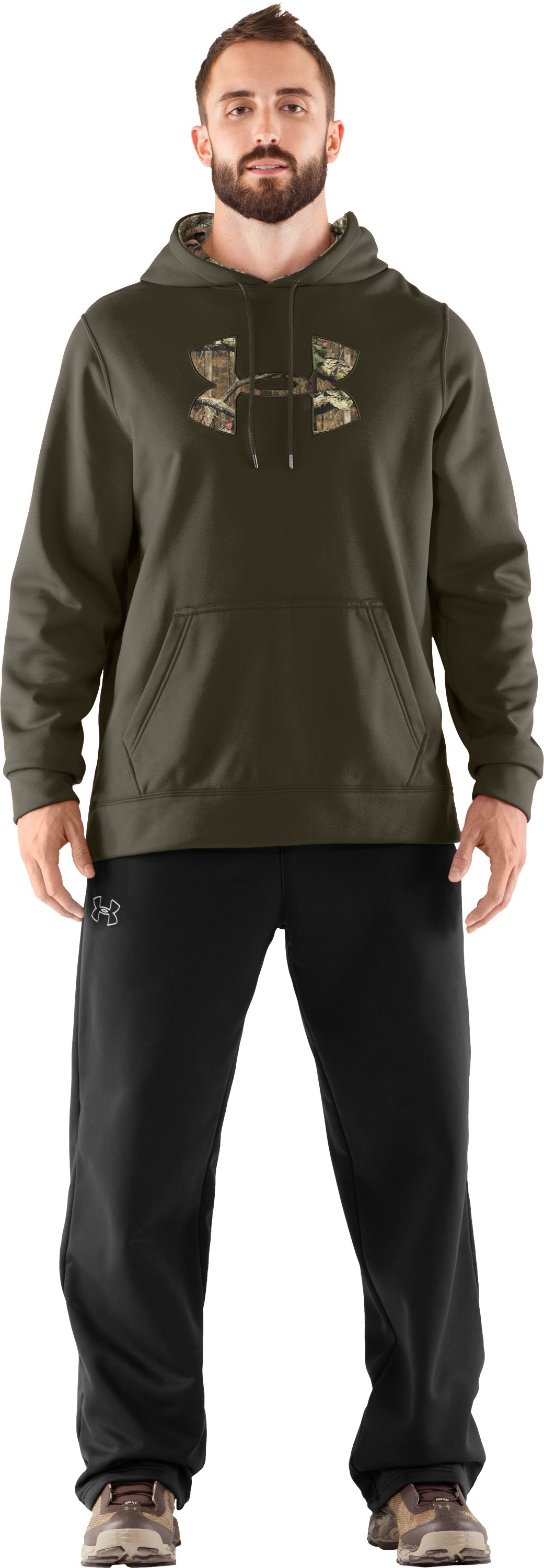 Men's UA Storm Armour® Fleece Tackle Twill Hoodie, Sage, Front