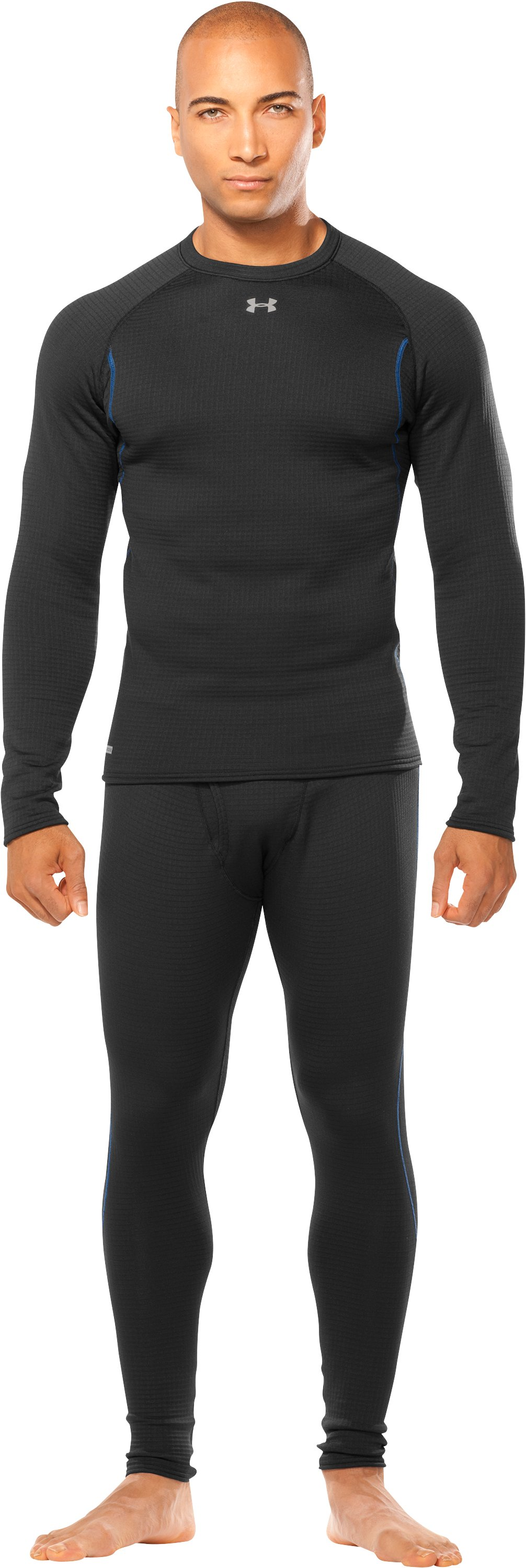 Men's ColdGear® UA Base™ 3.0 Long Sleeve Crew, Black , Front
