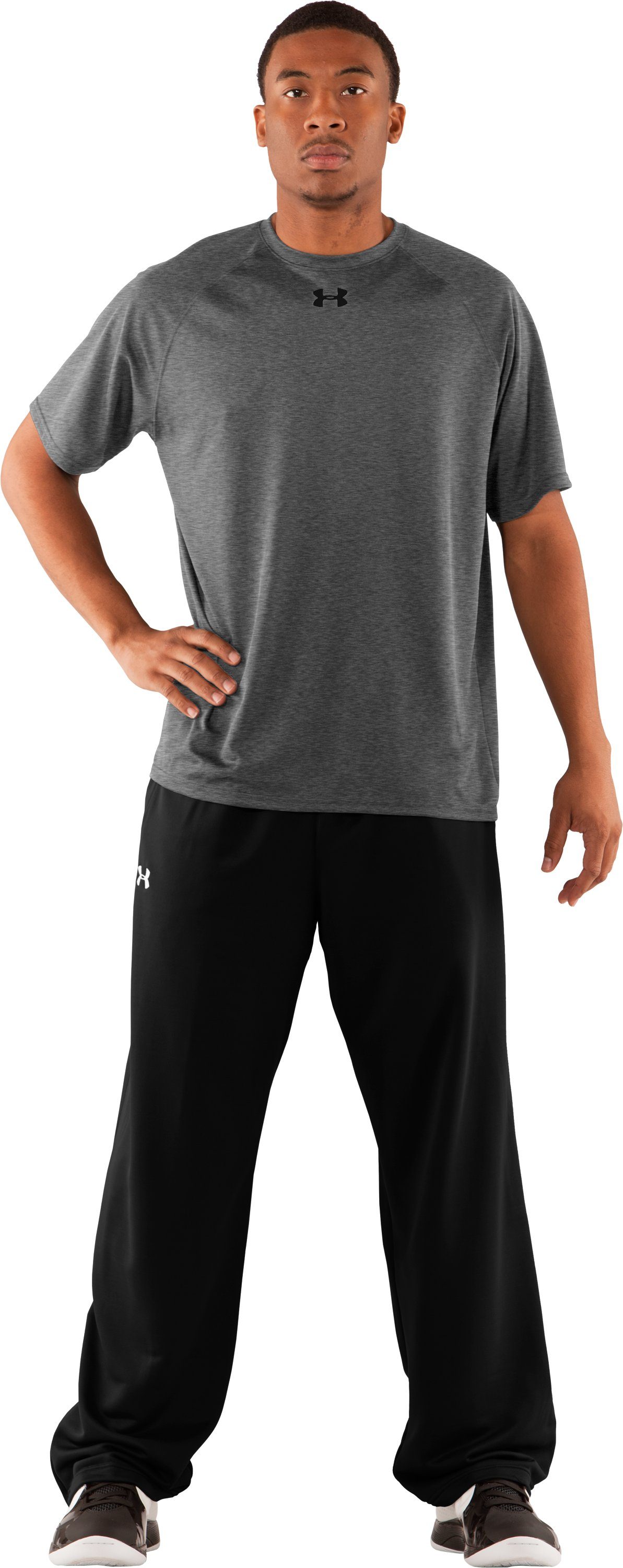 Men's HeatGear® Team Loose Short Sleeve T-Shirt, Medium Gray Heather, Front