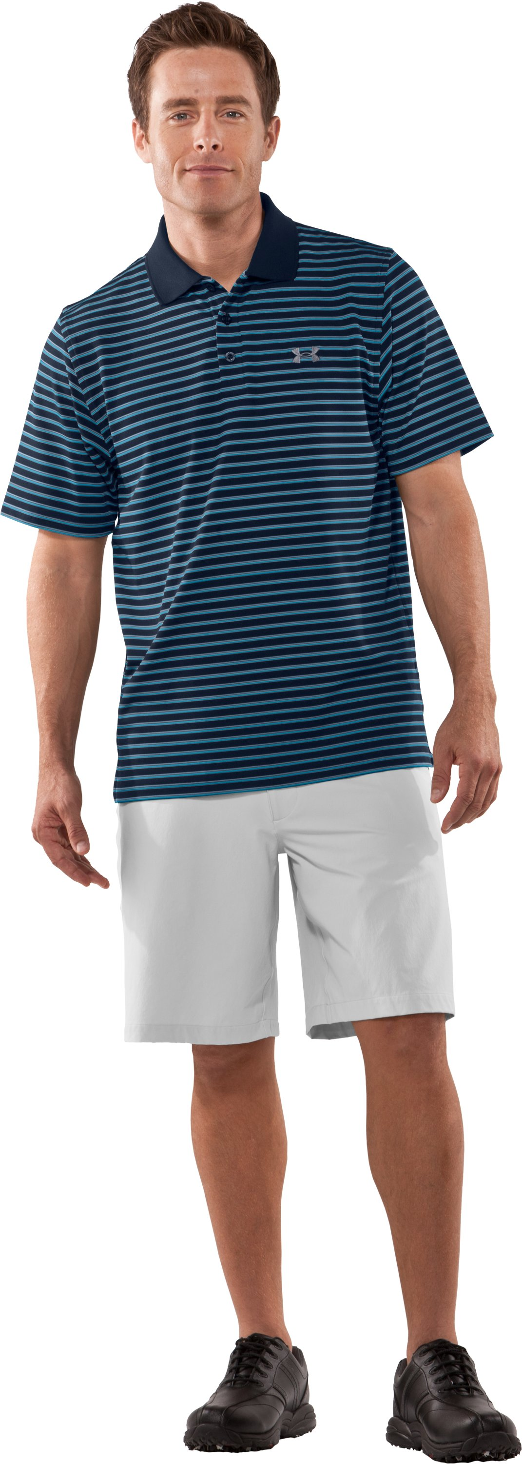 Men's UA Performance Stripe Polo, Wire, Front