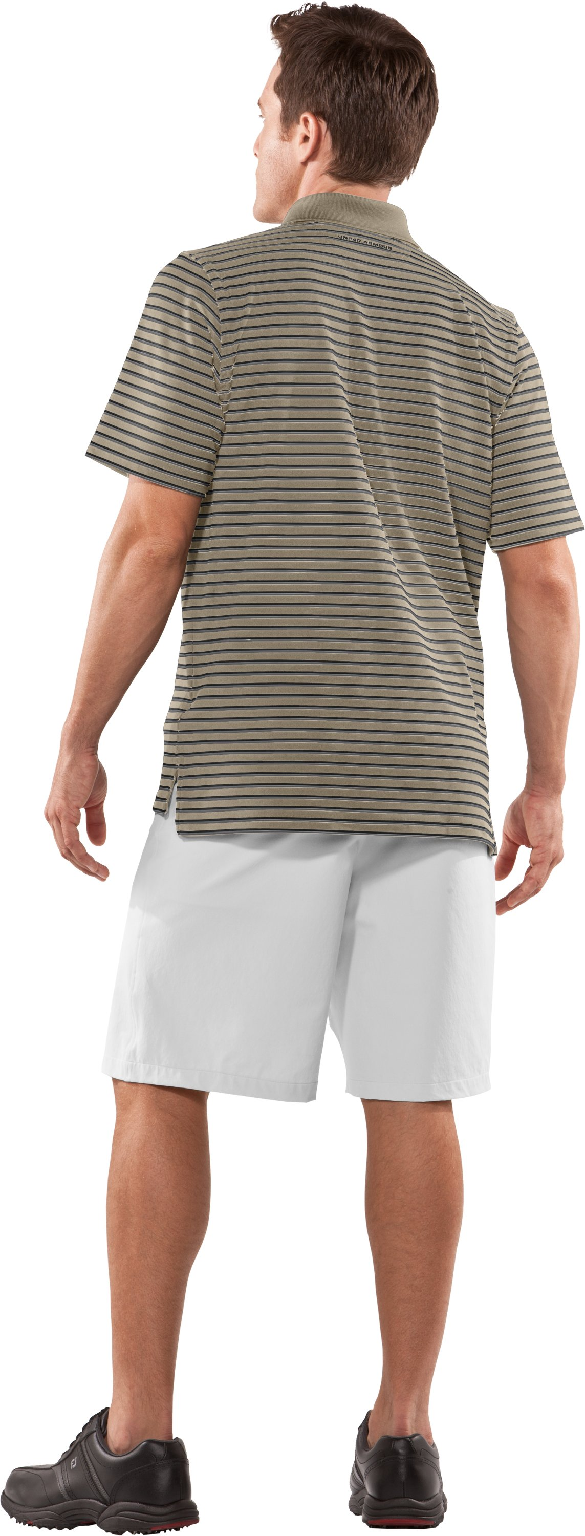 Men's UA Performance Stripe Polo, Dune, Back