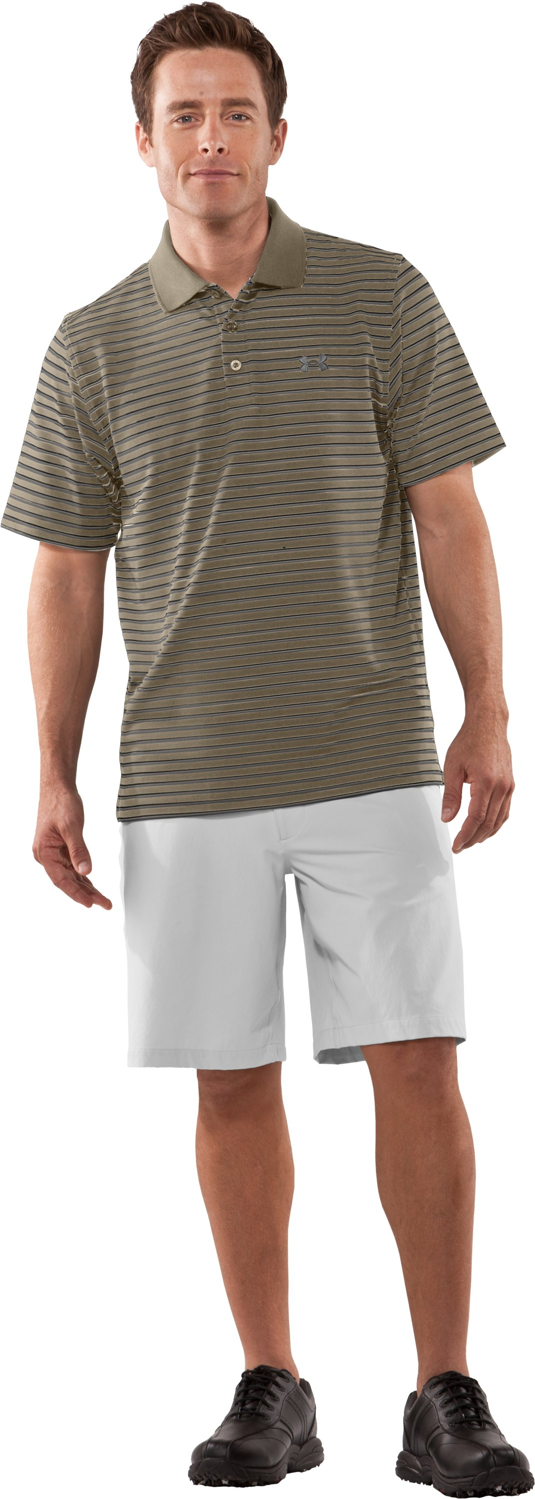 Men's UA Performance Stripe Polo, Dune, Front