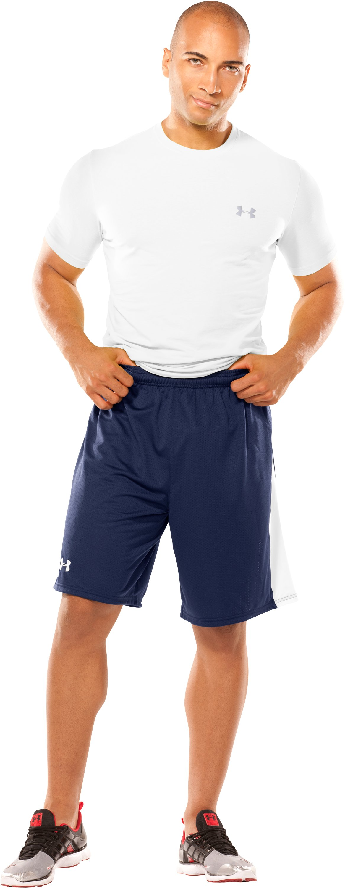Men's UA Finisher Lacrosse Shorts, Midnight Navy, Front