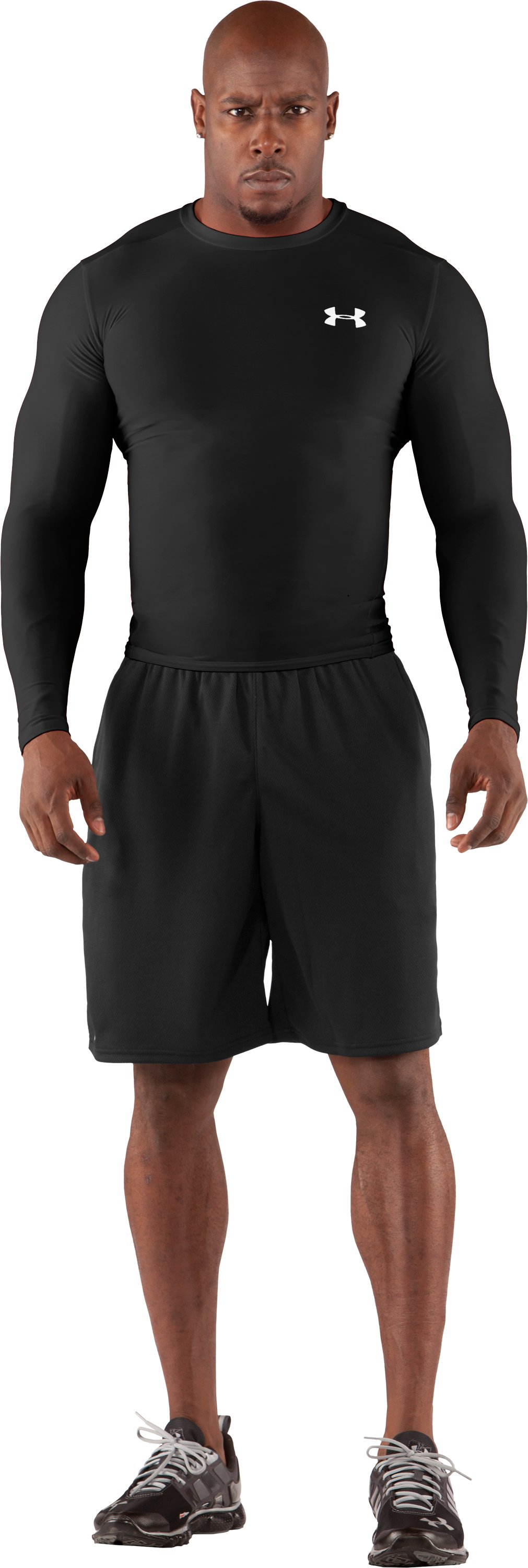 Men's HeatGear® Compression Long Sleeve T-Shirt, Black , Front