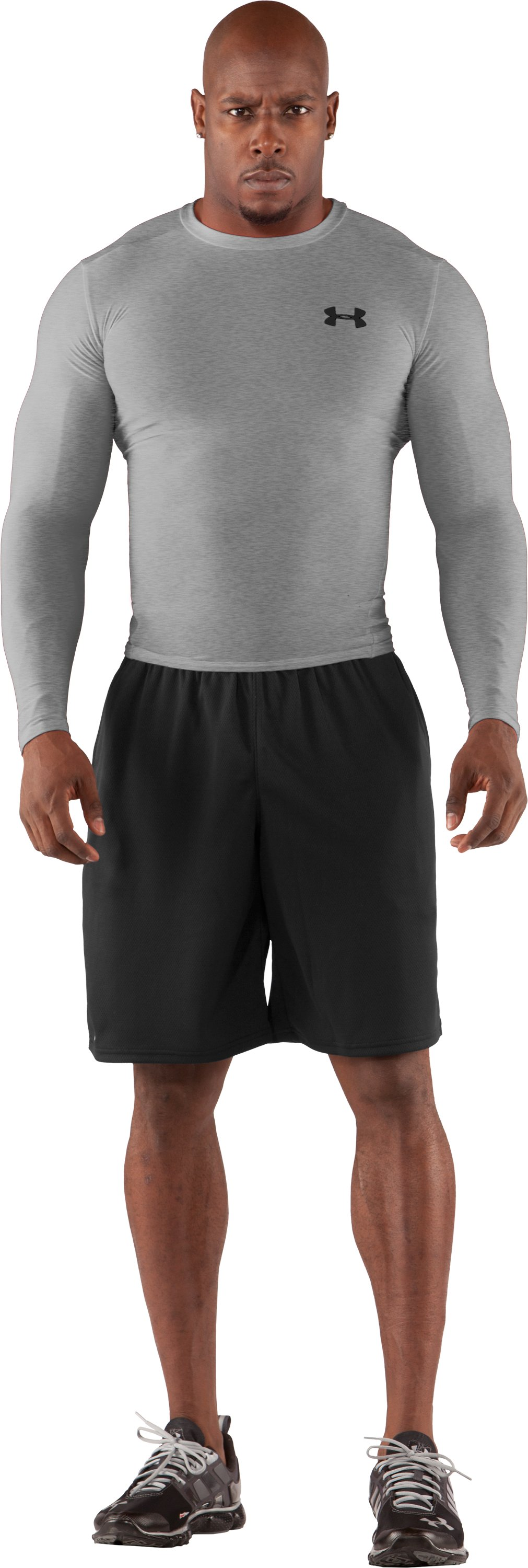 Men's HeatGear® Compression Long Sleeve T-Shirt, Medium Gray Heather, Front