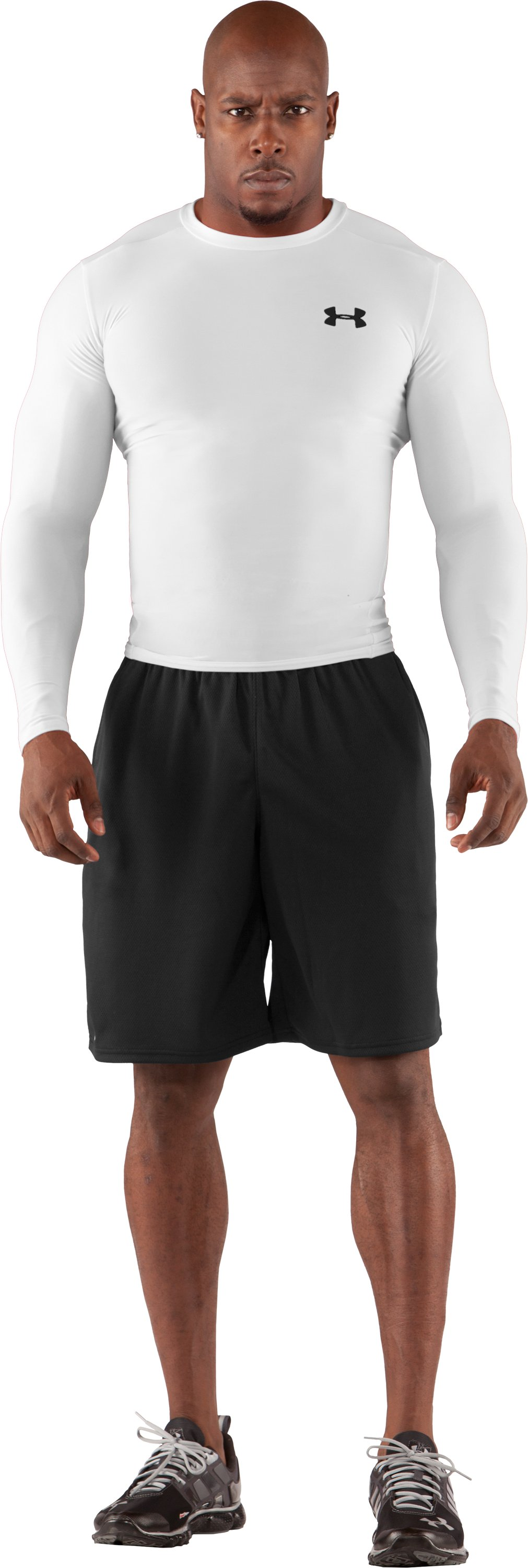 Men's HeatGear® Compression Long Sleeve T-Shirt, White, Front