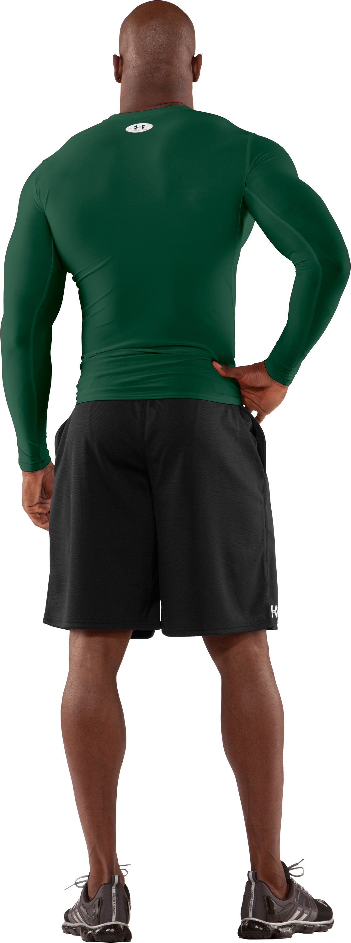 Men's HeatGear® Compression Long Sleeve T-Shirt, Forest Green, Back