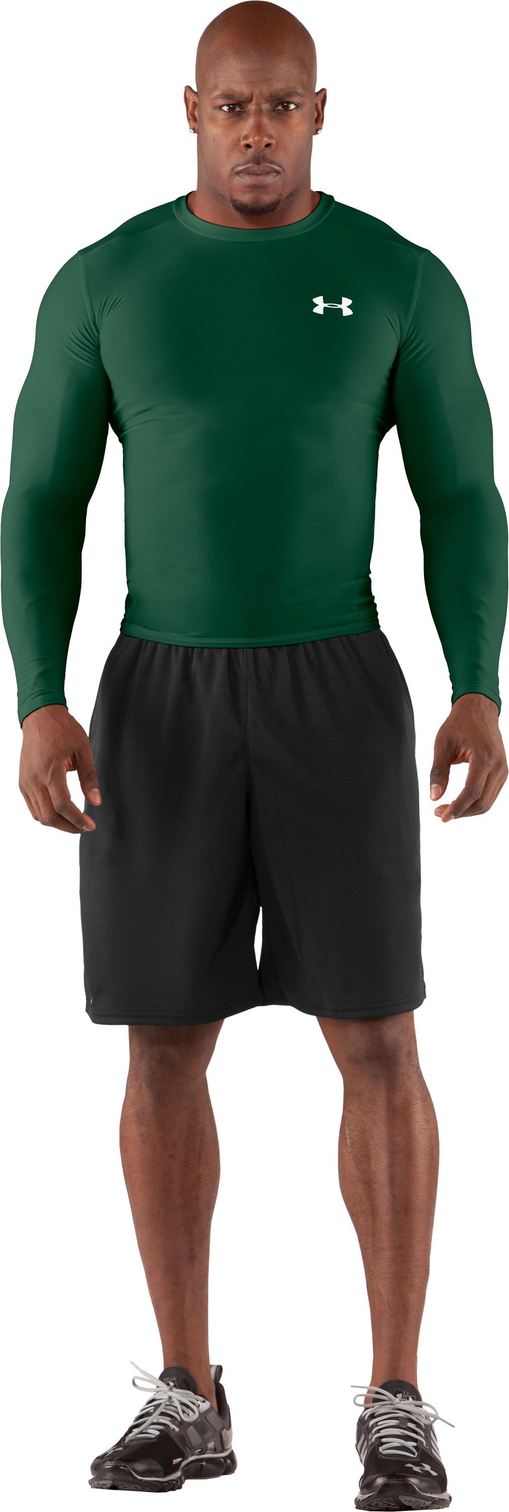 Men's HeatGear® Compression Long Sleeve T-Shirt, Forest Green, Front