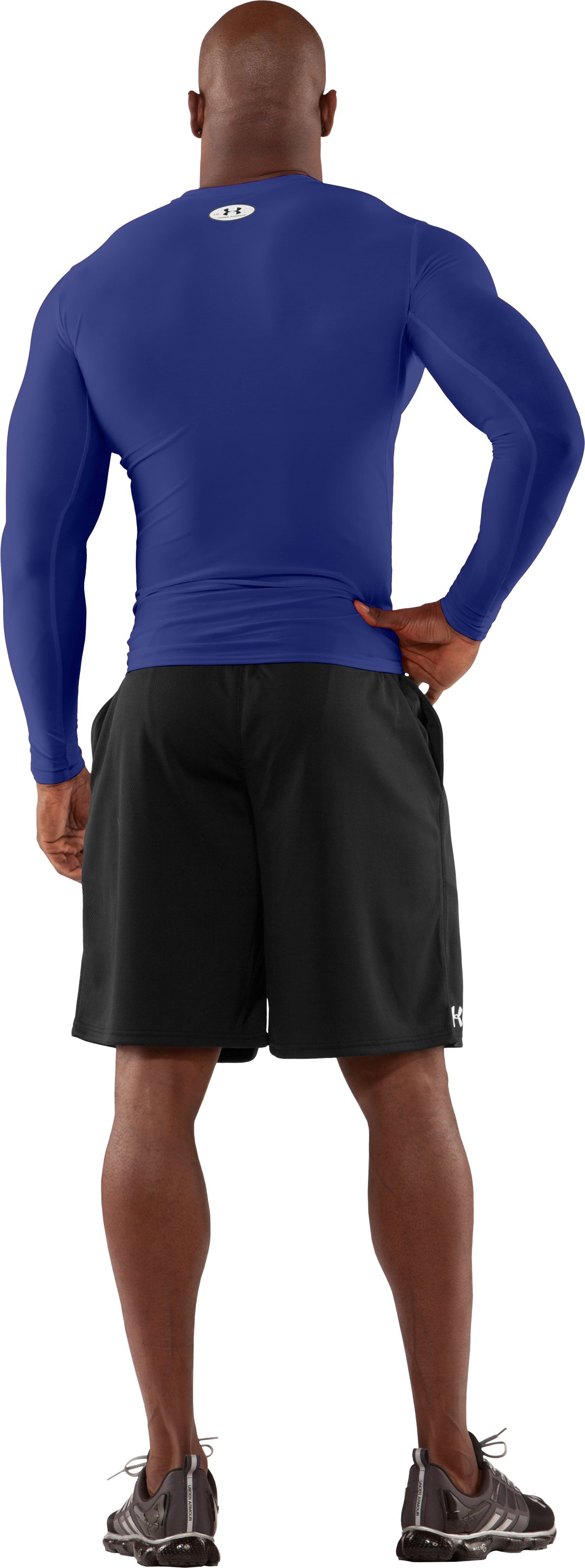 Men's HeatGear® Compression Long Sleeve T-Shirt, Royal, Back