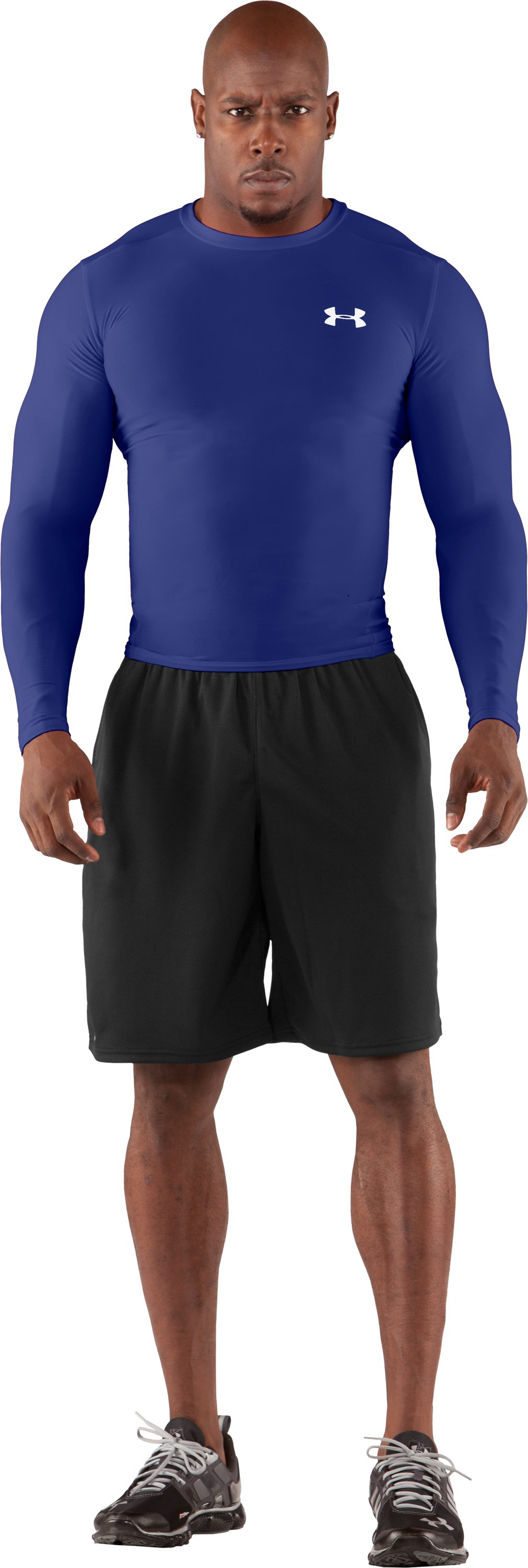 Men's HeatGear® Compression Long Sleeve T-Shirt, Royal, Front