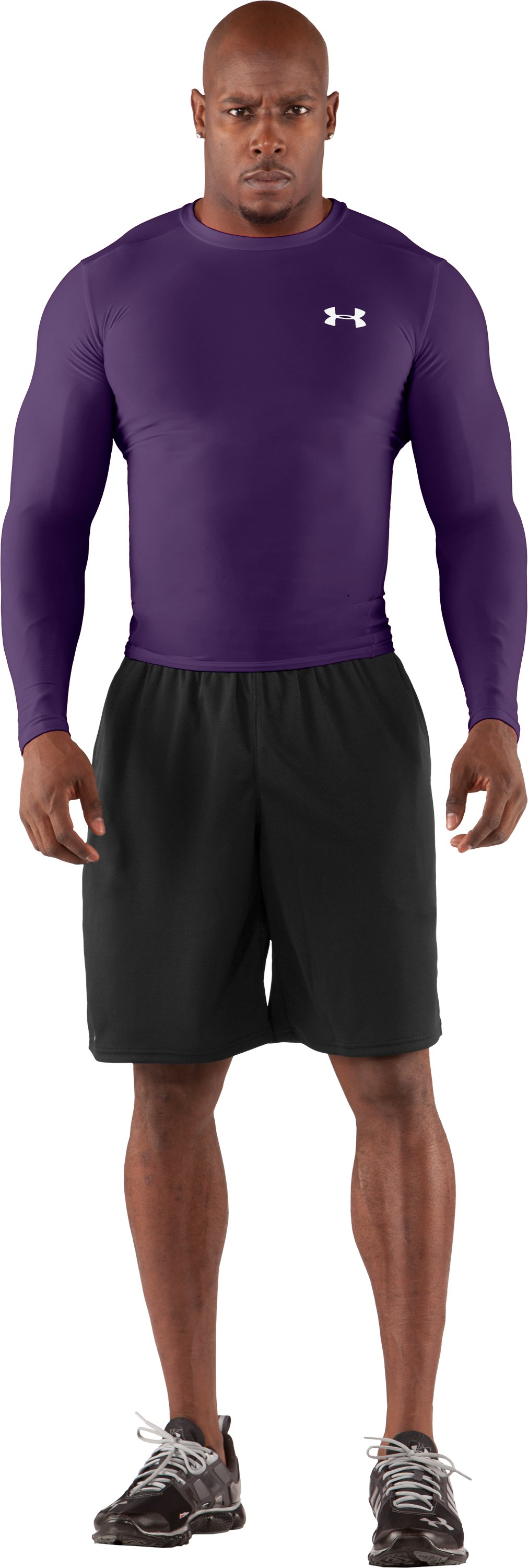 Men's HeatGear® Compression Long Sleeve T-Shirt, Purple, zoomed image