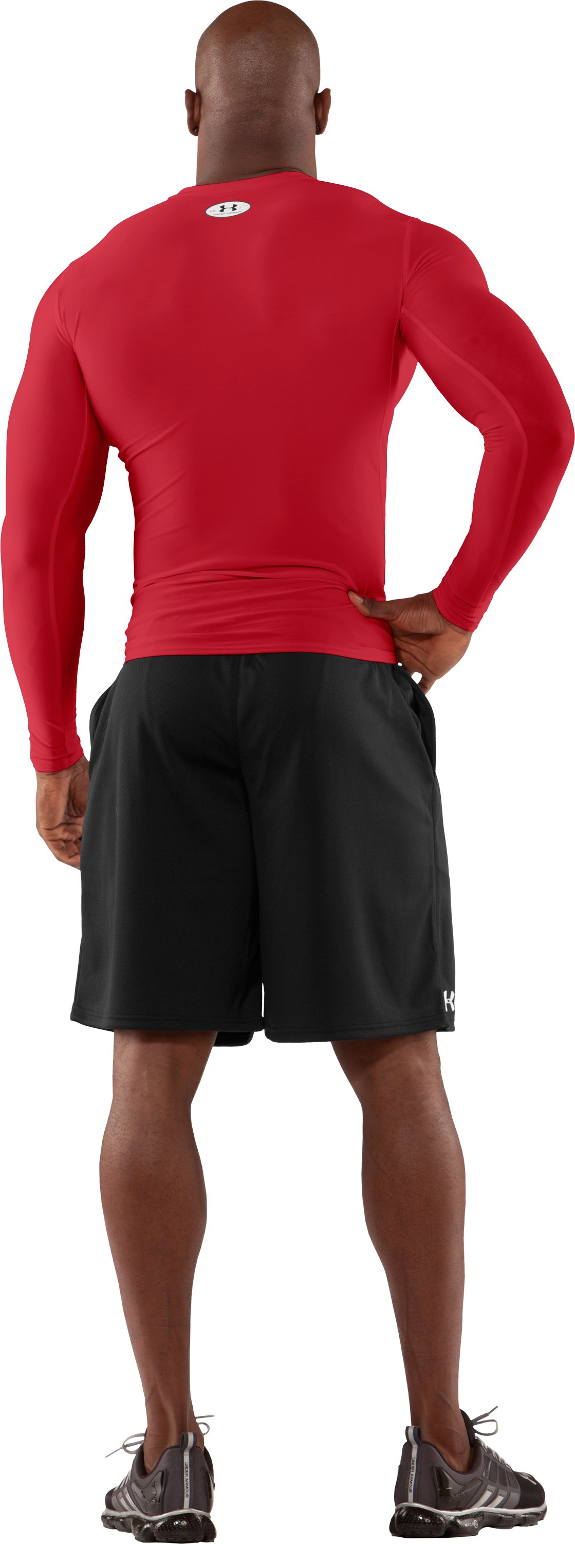 Men's HeatGear® Compression Long Sleeve T-Shirt, Red, Back