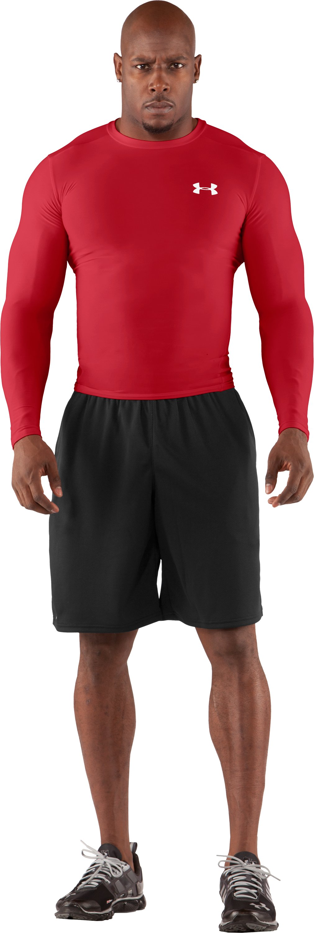 Men's HeatGear® Compression Long Sleeve T-Shirt, Red, Front