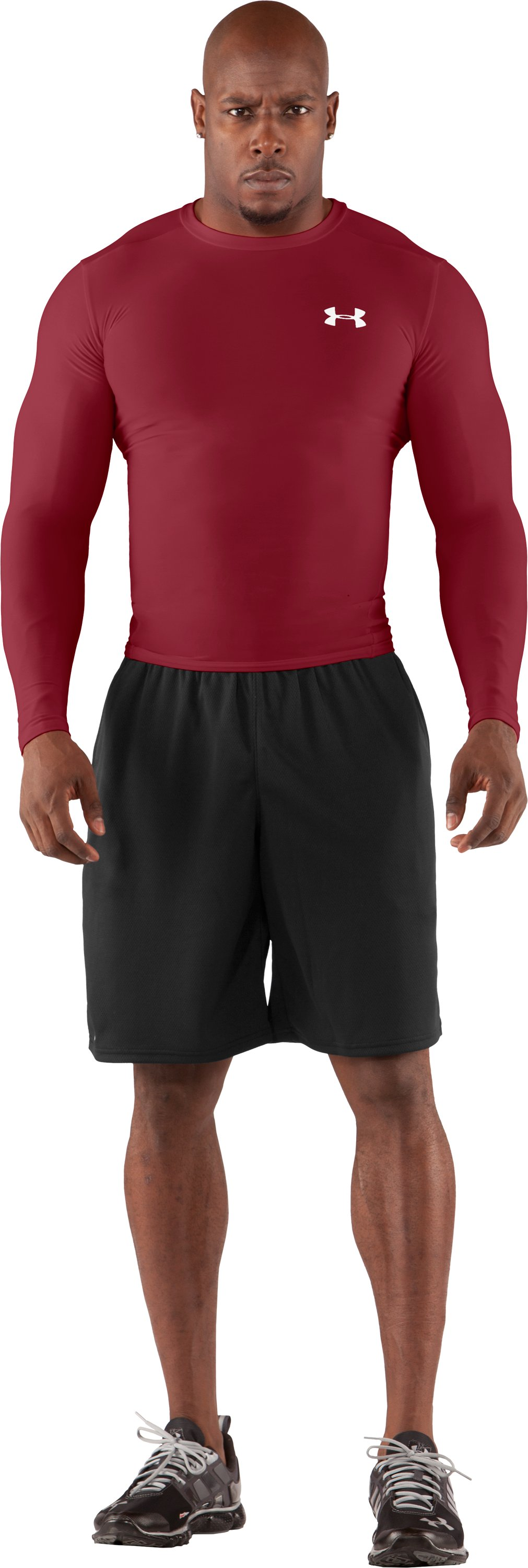 Men's HeatGear® Compression Long Sleeve T-Shirt, Crimson, Front