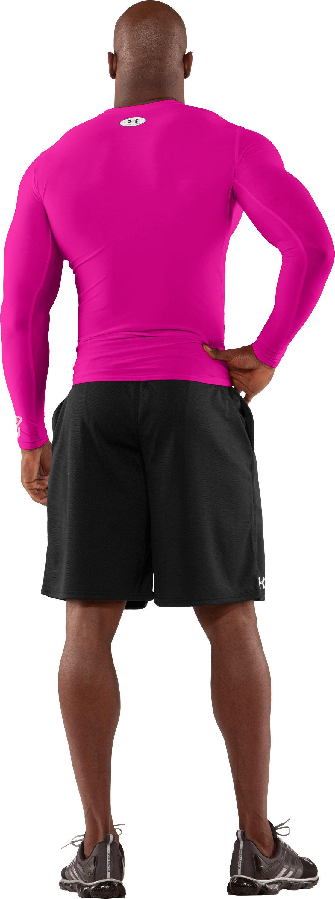 Men's HeatGear® Compression Long Sleeve T-Shirt, Tropic Pink, Back