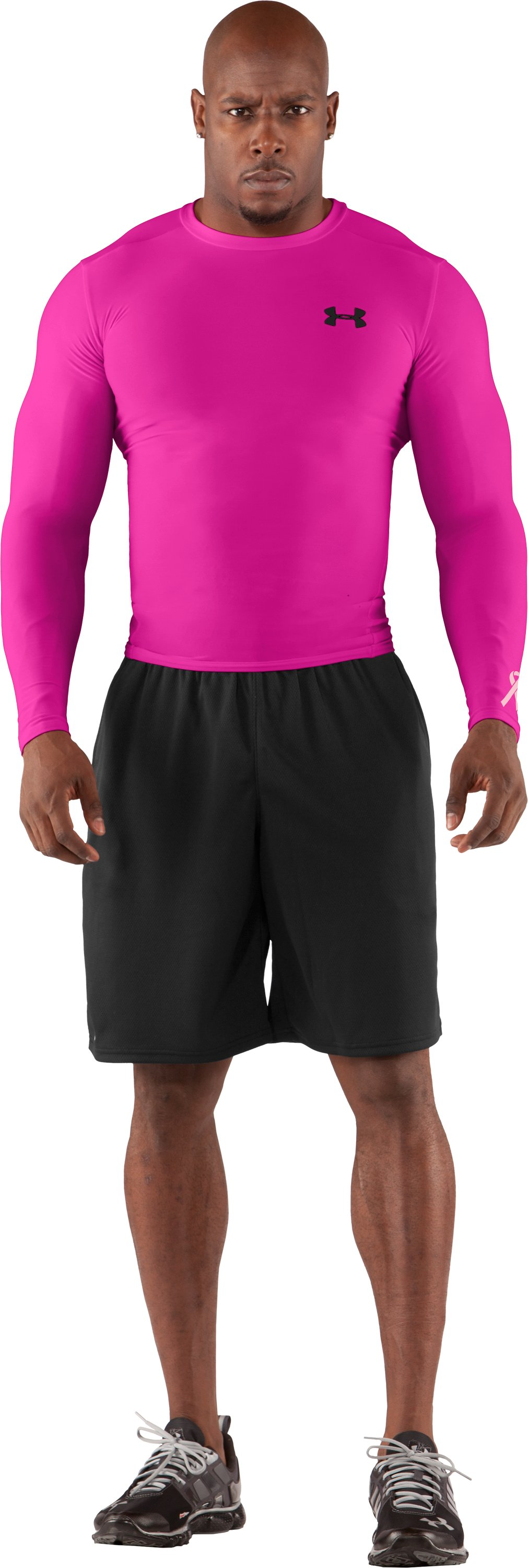 Men's HeatGear® Compression Long Sleeve T-Shirt, Tropic Pink, Front