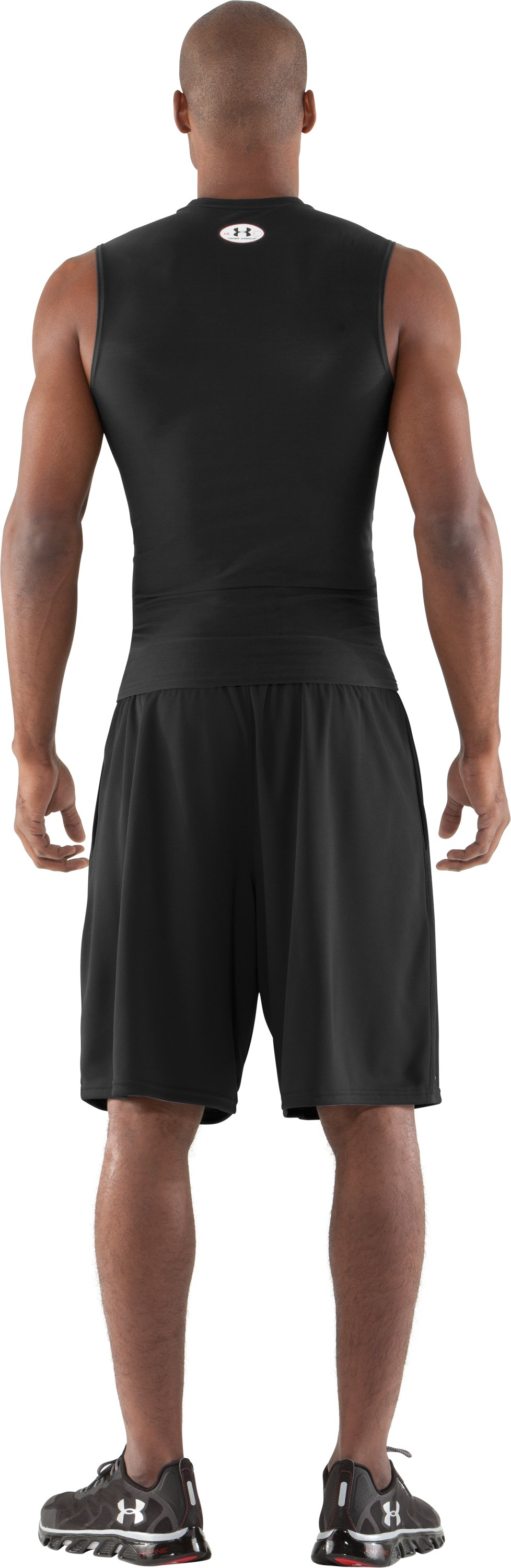 Men's HeatGear® Compression Sleeveless T-Shirt, Black , Back