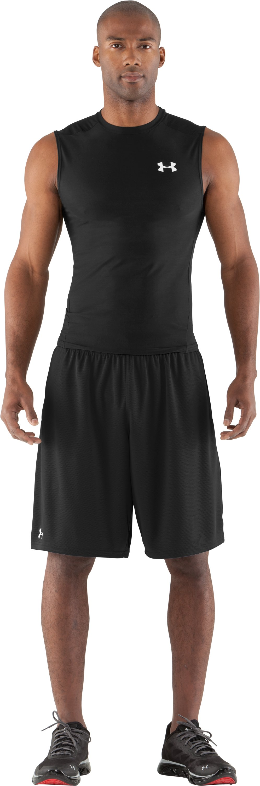 Men's HeatGear® Compression Sleeveless T-Shirt, Black , Front
