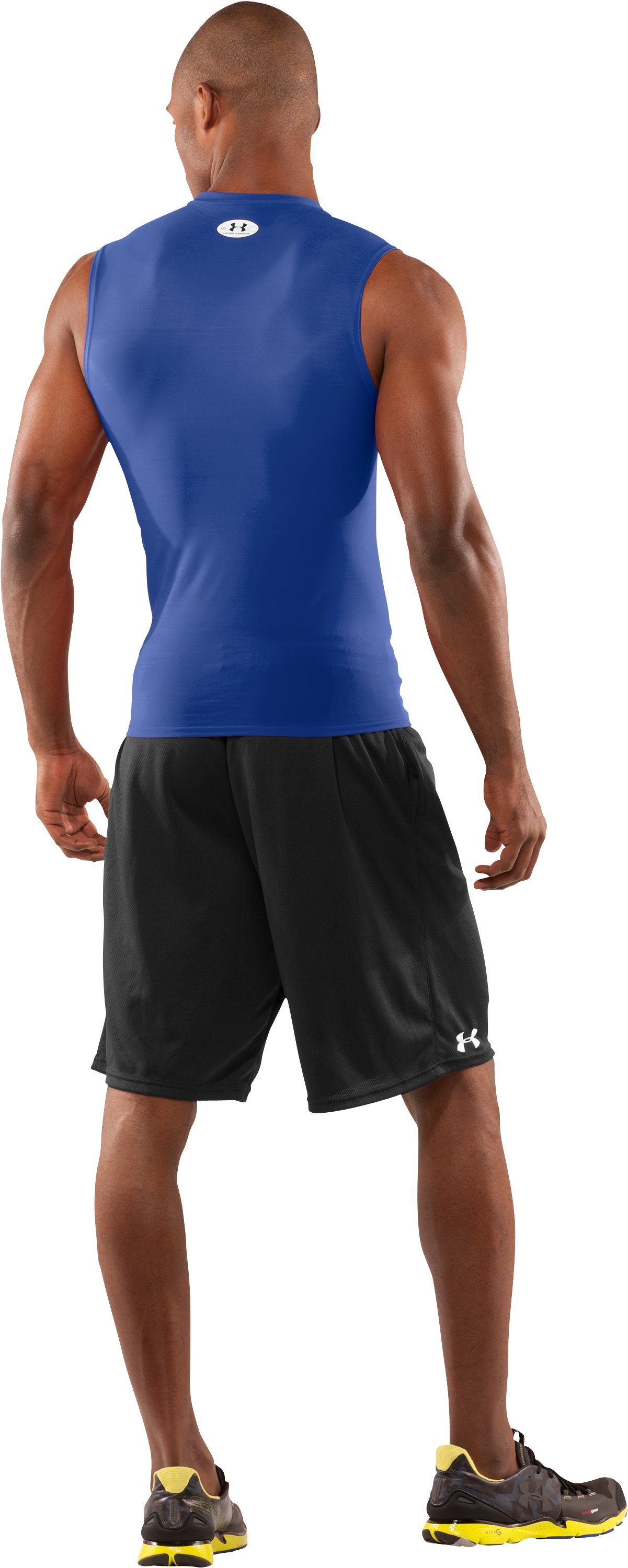 Men's HeatGear® Compression Sleeveless T-Shirt, Royal, Back