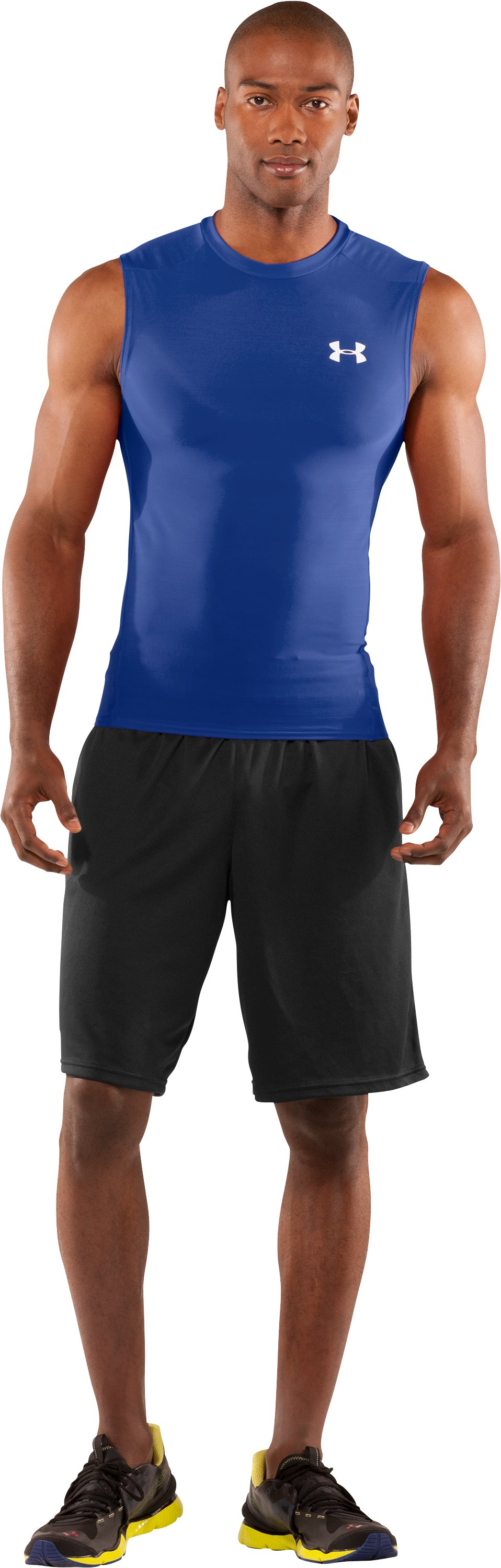 Men's HeatGear® Compression Sleeveless T-Shirt, Royal, Front