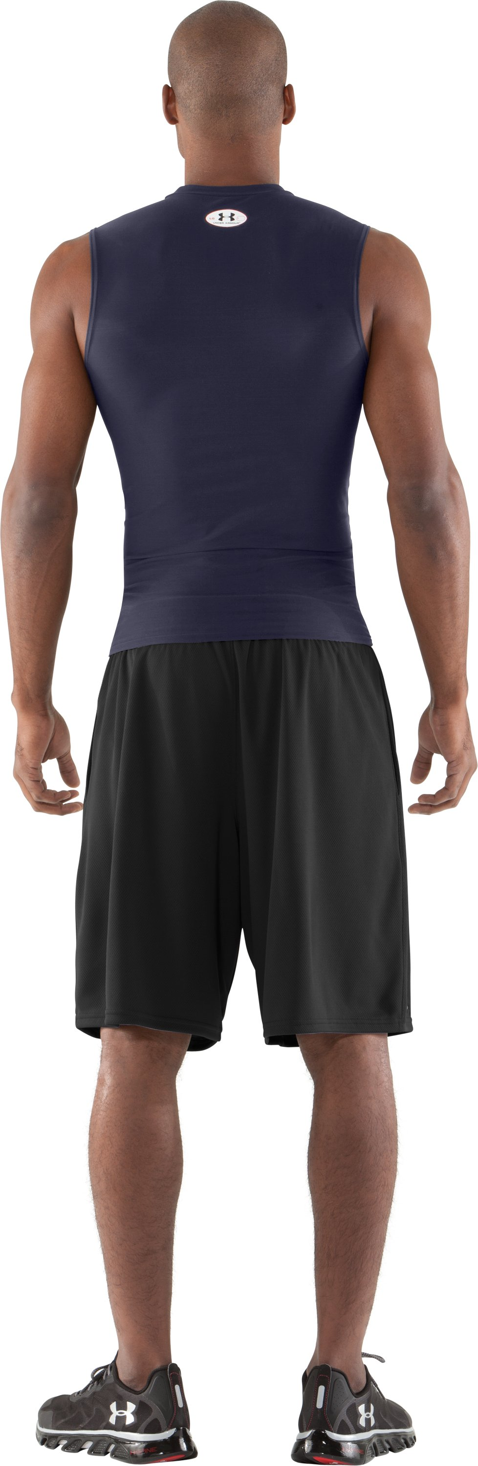 Men's HeatGear® Compression Sleeveless T-Shirt, Midnight Navy, Back