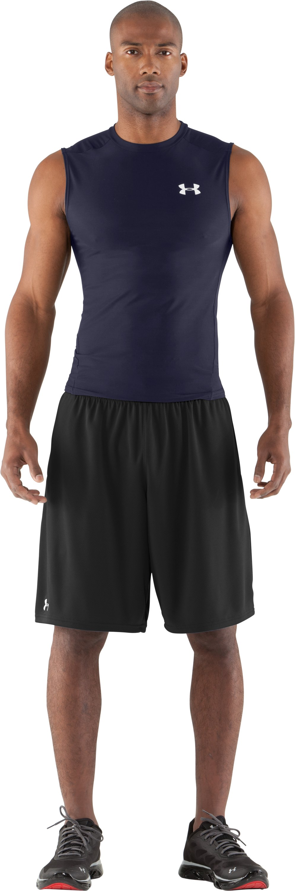 Men's HeatGear® Compression Sleeveless T-Shirt, Midnight Navy, zoomed image