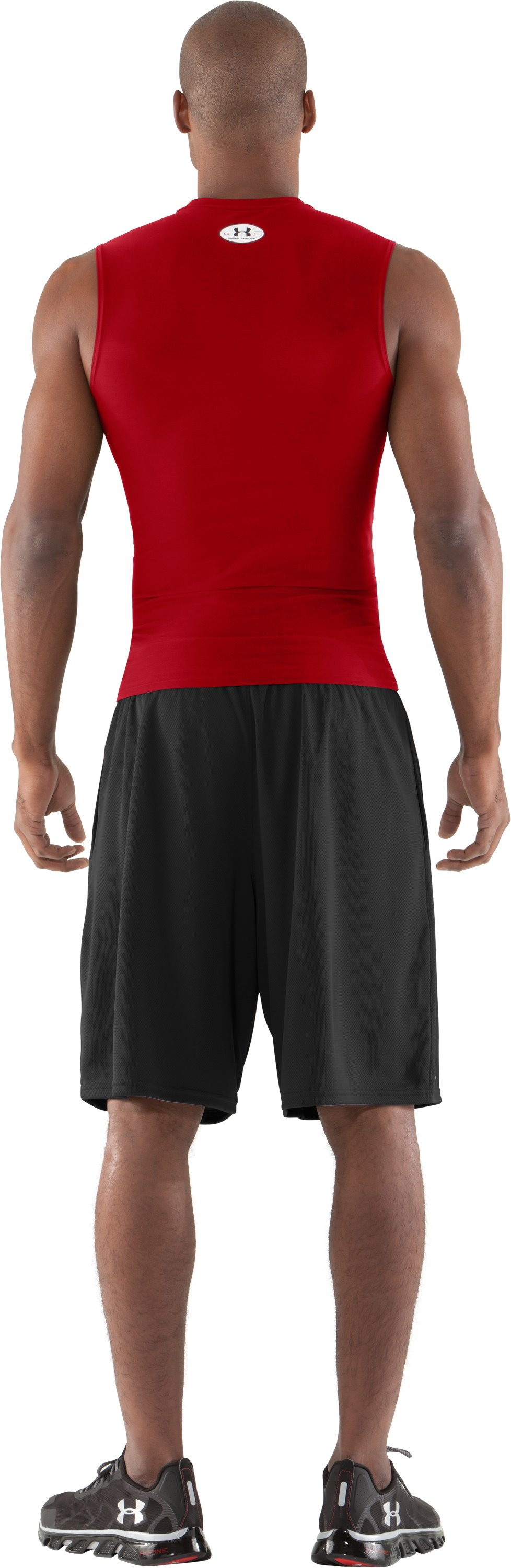 Men's HeatGear® Compression Sleeveless T-Shirt, Red, Back