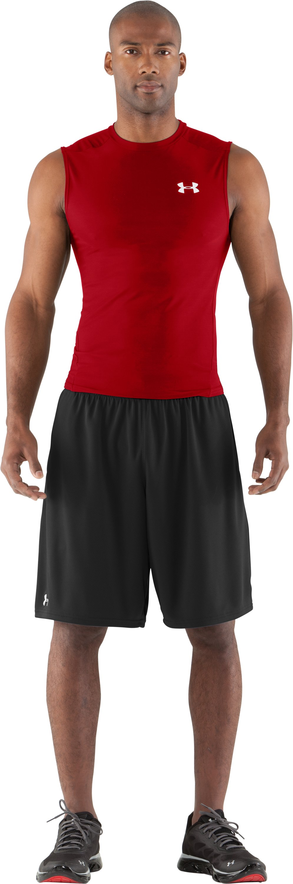 Men's HeatGear® Compression Sleeveless T-Shirt, Red, Front