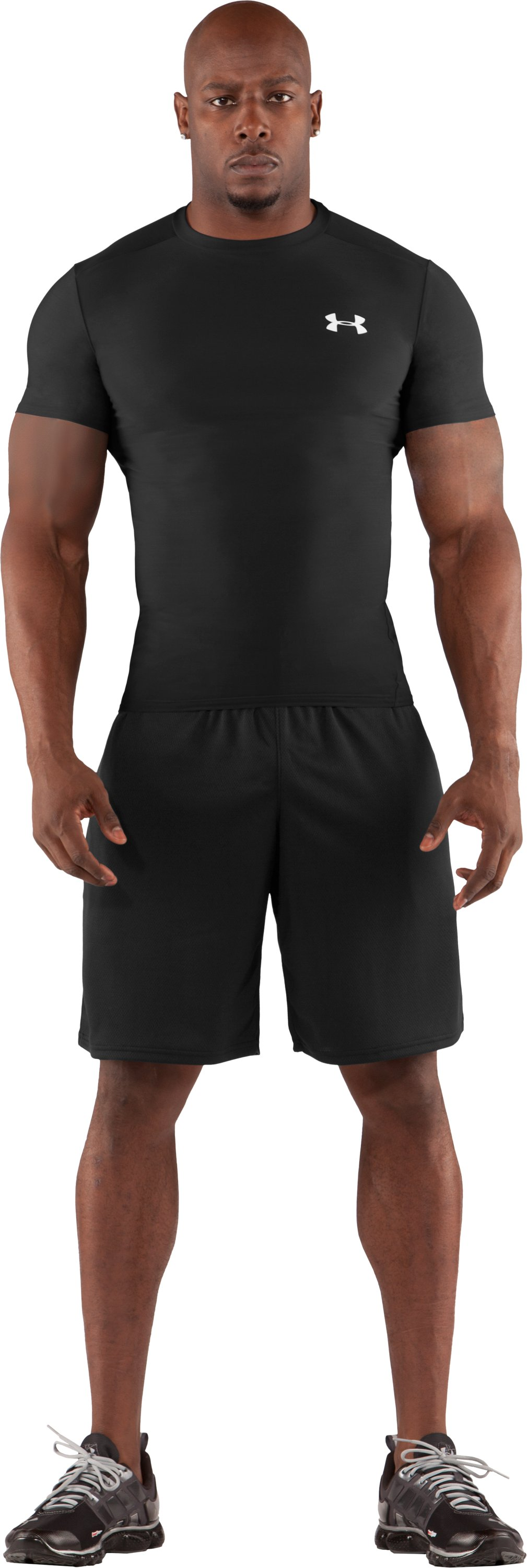 Men's HeatGear® Compression Short Sleeve T-Shirt, Black , Front