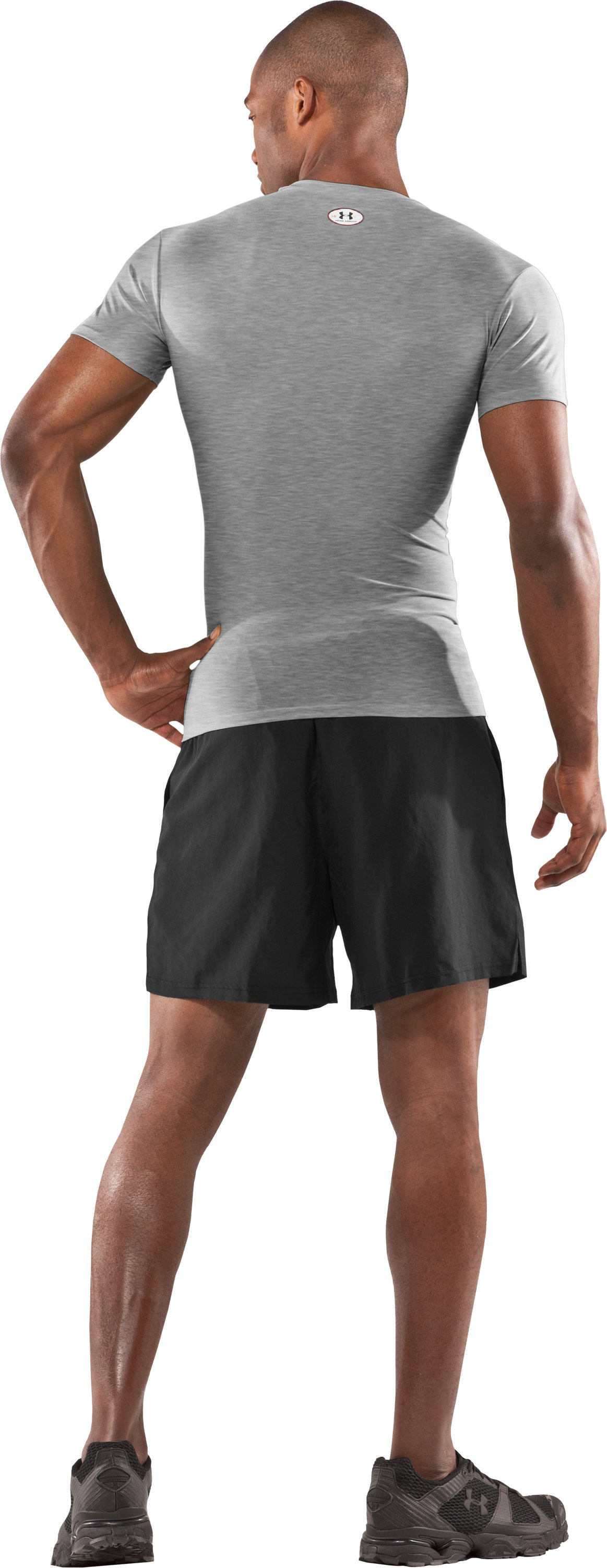 Men's HeatGear® Compression Short Sleeve T-Shirt, Medium Gray Heather, Back
