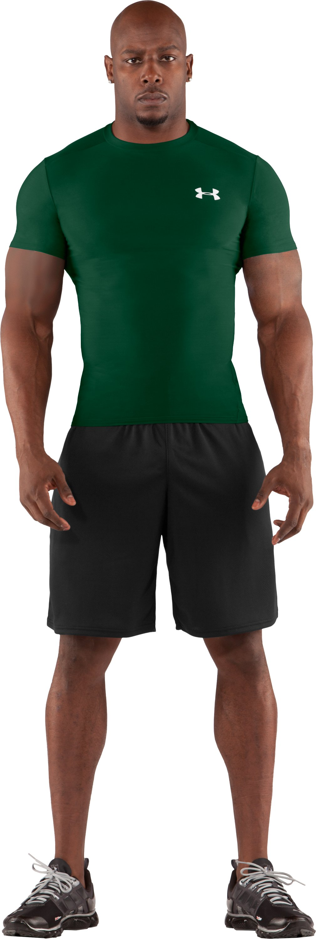 Men's HeatGear® Compression Short Sleeve T-Shirt, Forest Green, Front