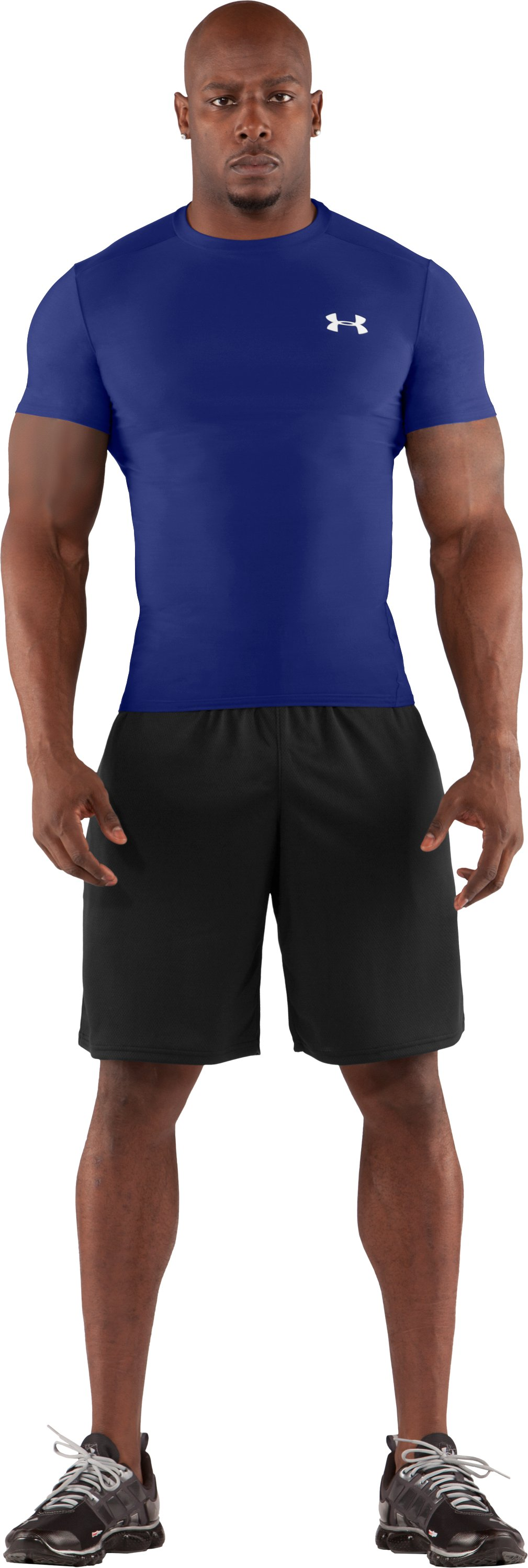 Men's HeatGear® Compression Short Sleeve T-Shirt, Royal, Front