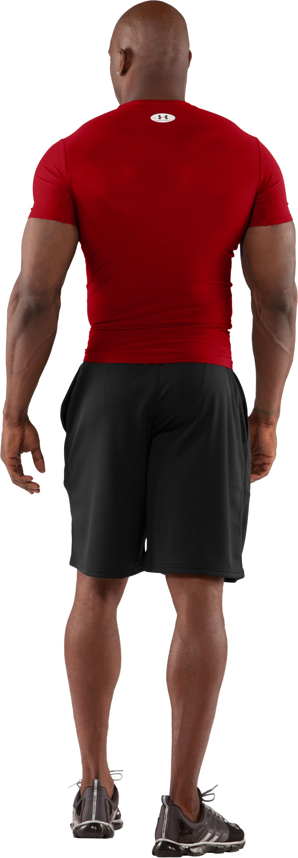 Men's HeatGear® Compression Short Sleeve T-Shirt, Red, Back