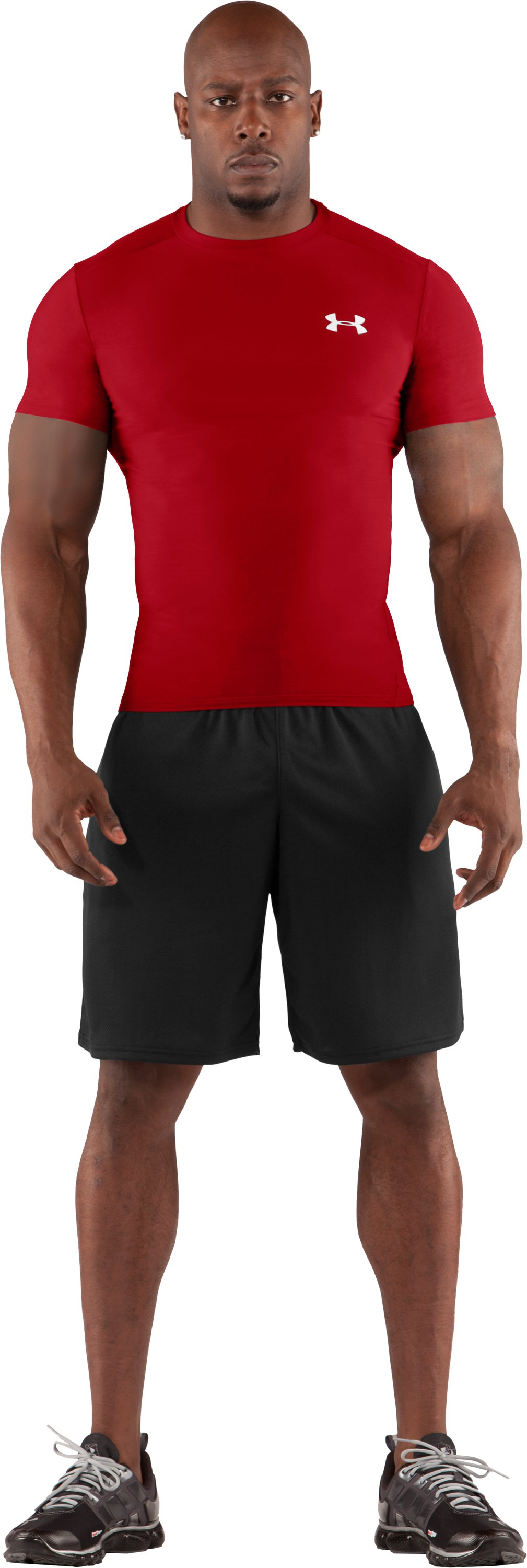 Men's HeatGear® Compression Short Sleeve T-Shirt, Red, Front