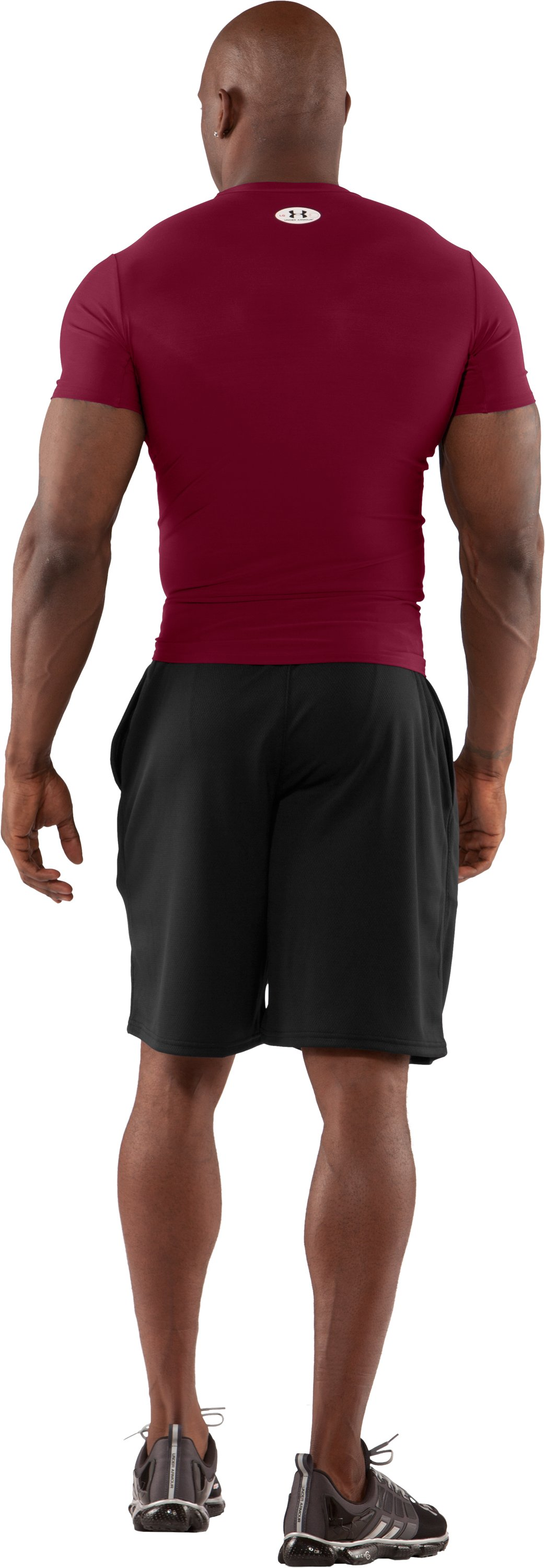 Men's HeatGear® Compression Short Sleeve T-Shirt, Maroon, Back