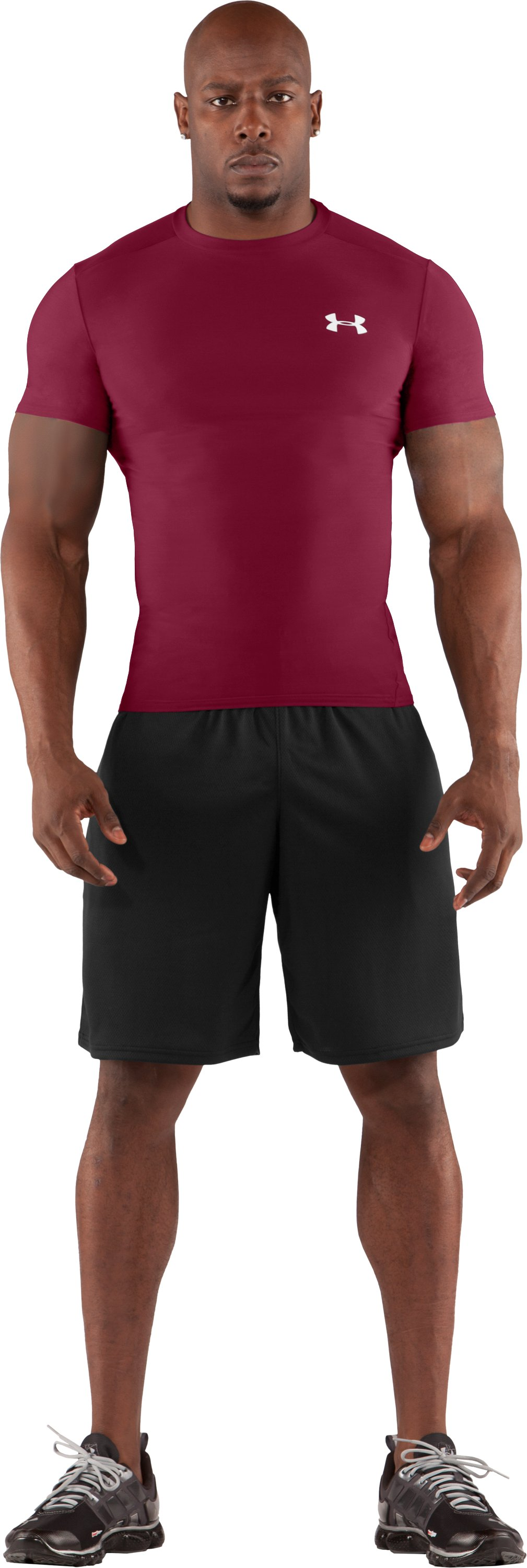 Men's HeatGear® Compression Short Sleeve T-Shirt, Maroon, Front